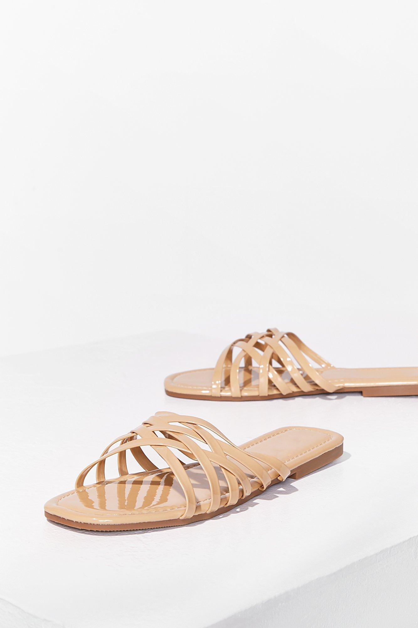Image of Womens Who's Slide Are You On Faux Leather Flat Sandals - Beige