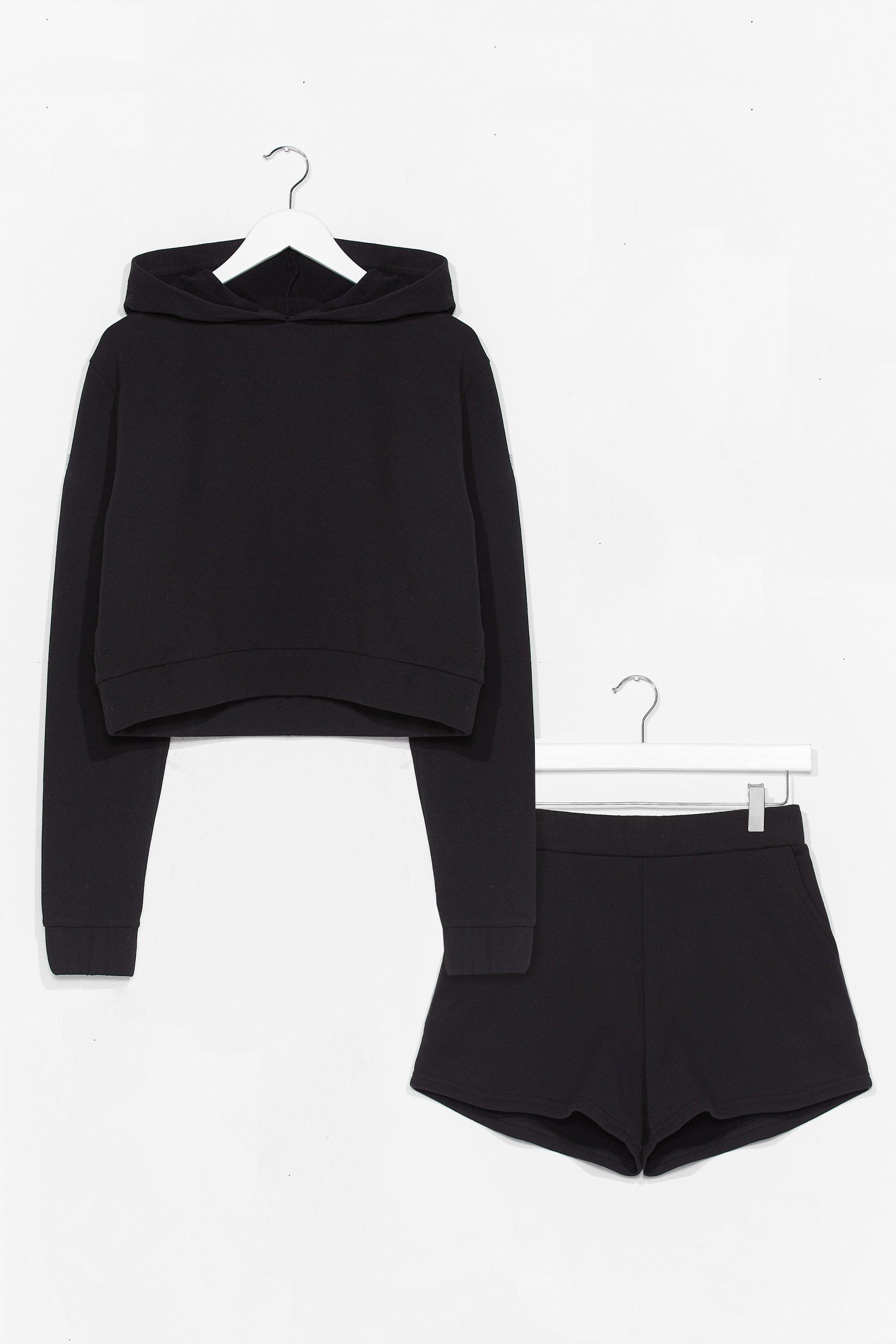 Image of Womens Got It Hood Cropped Hoodie and Shorts Set - Black