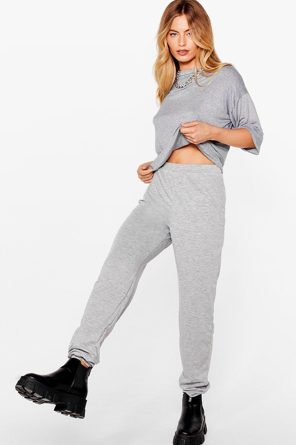 Image of Womens Bring It All Together Tee and Jogger Set - Grey Marl