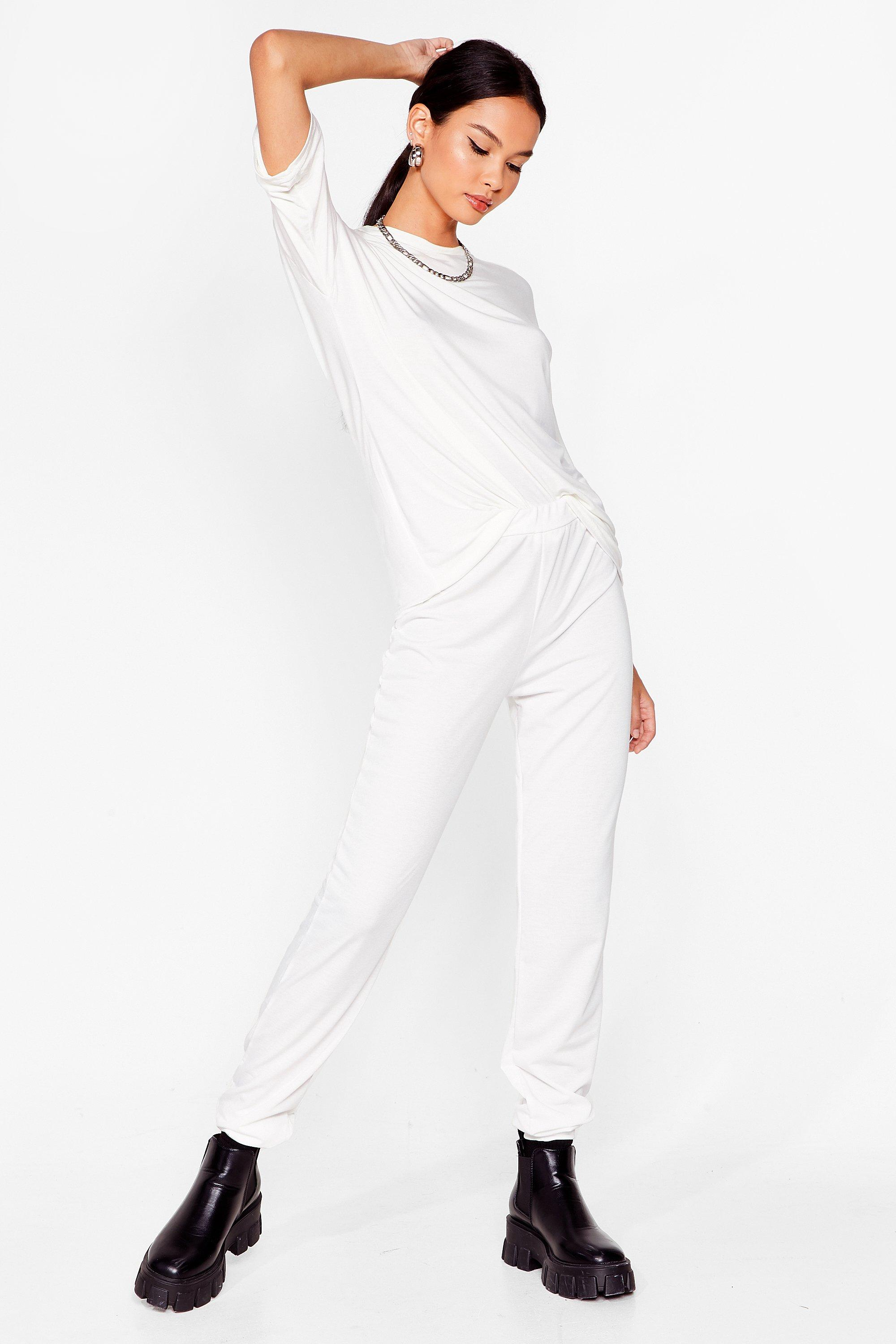 Image of Womens Bring It All Together Tee and Jogger Set - White