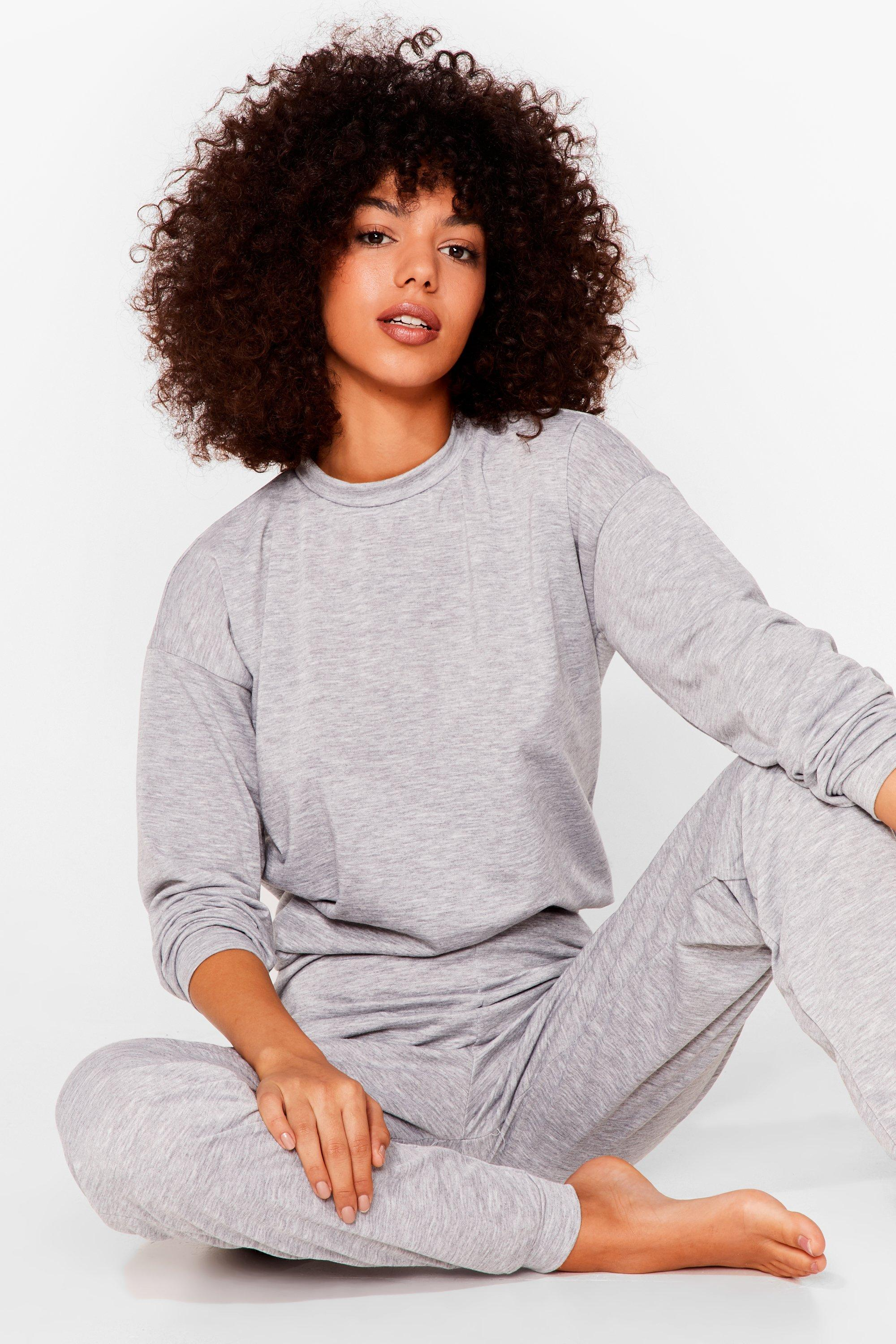Image of Womens As Easy As That Joggers Lounge Set - Grey Marl