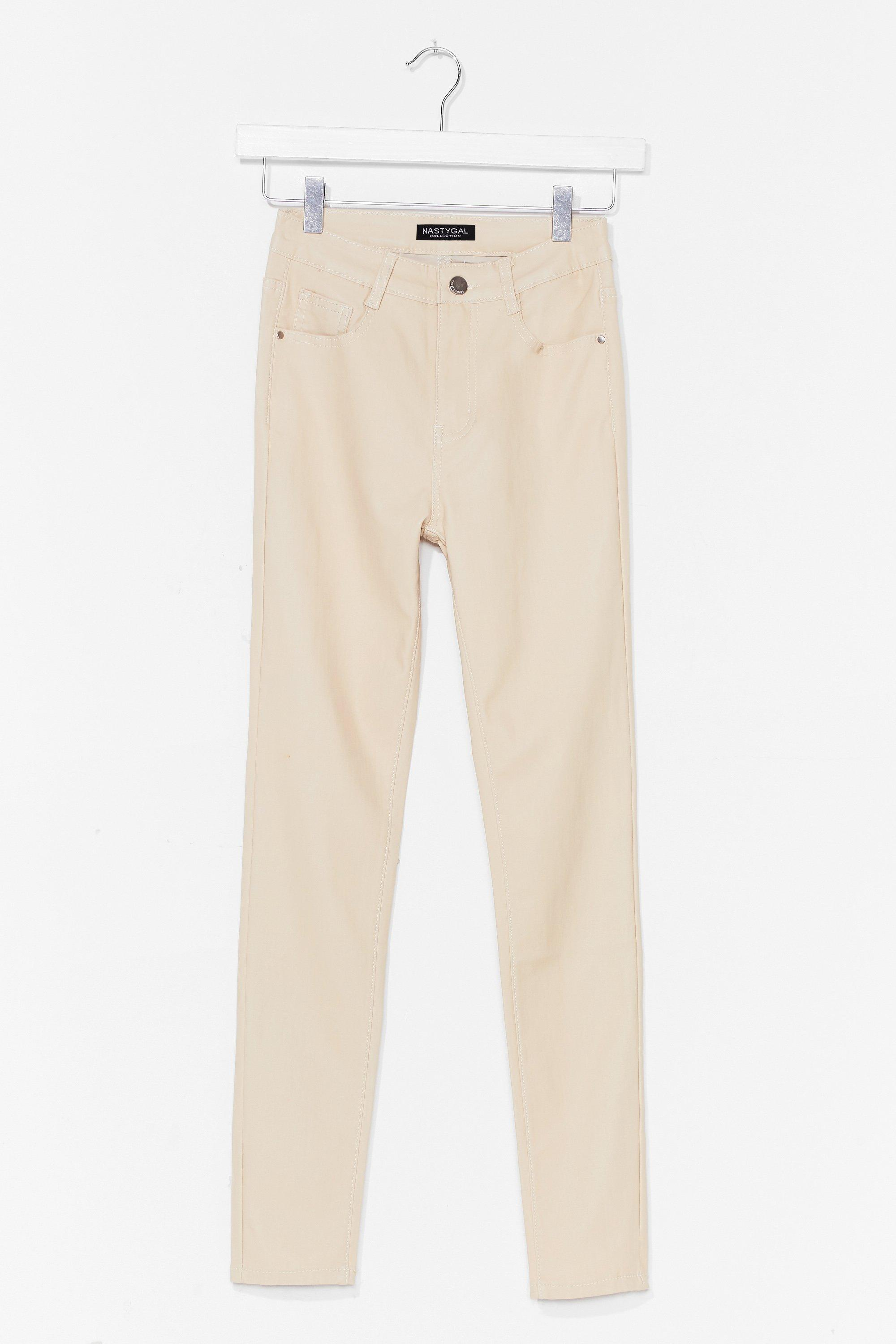 Image of Womens Get Coated High-Waisted Skinny Jeans - Cream