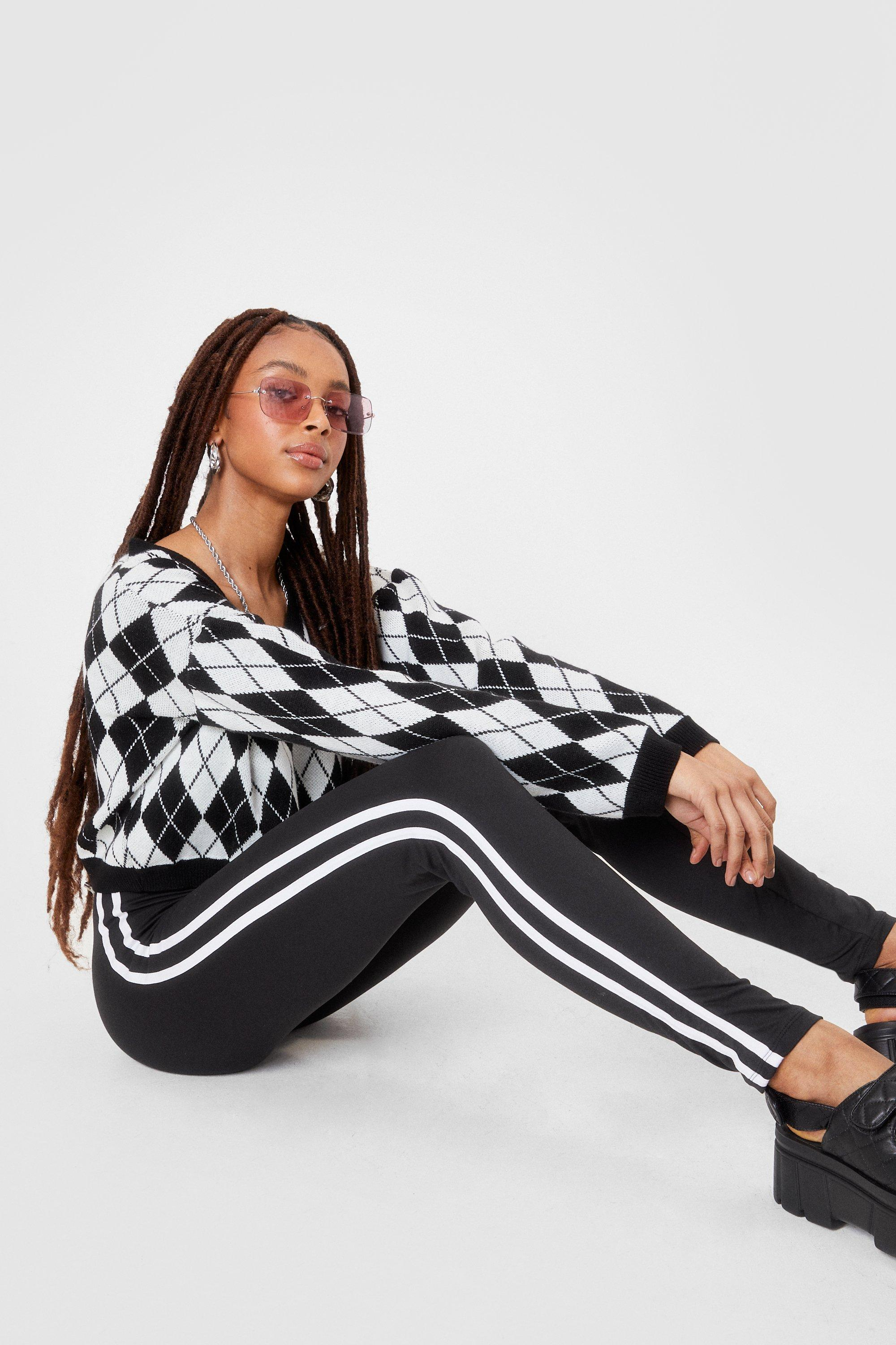 Image of Womens The Time is Stripe High-Waisted Leggings - Black