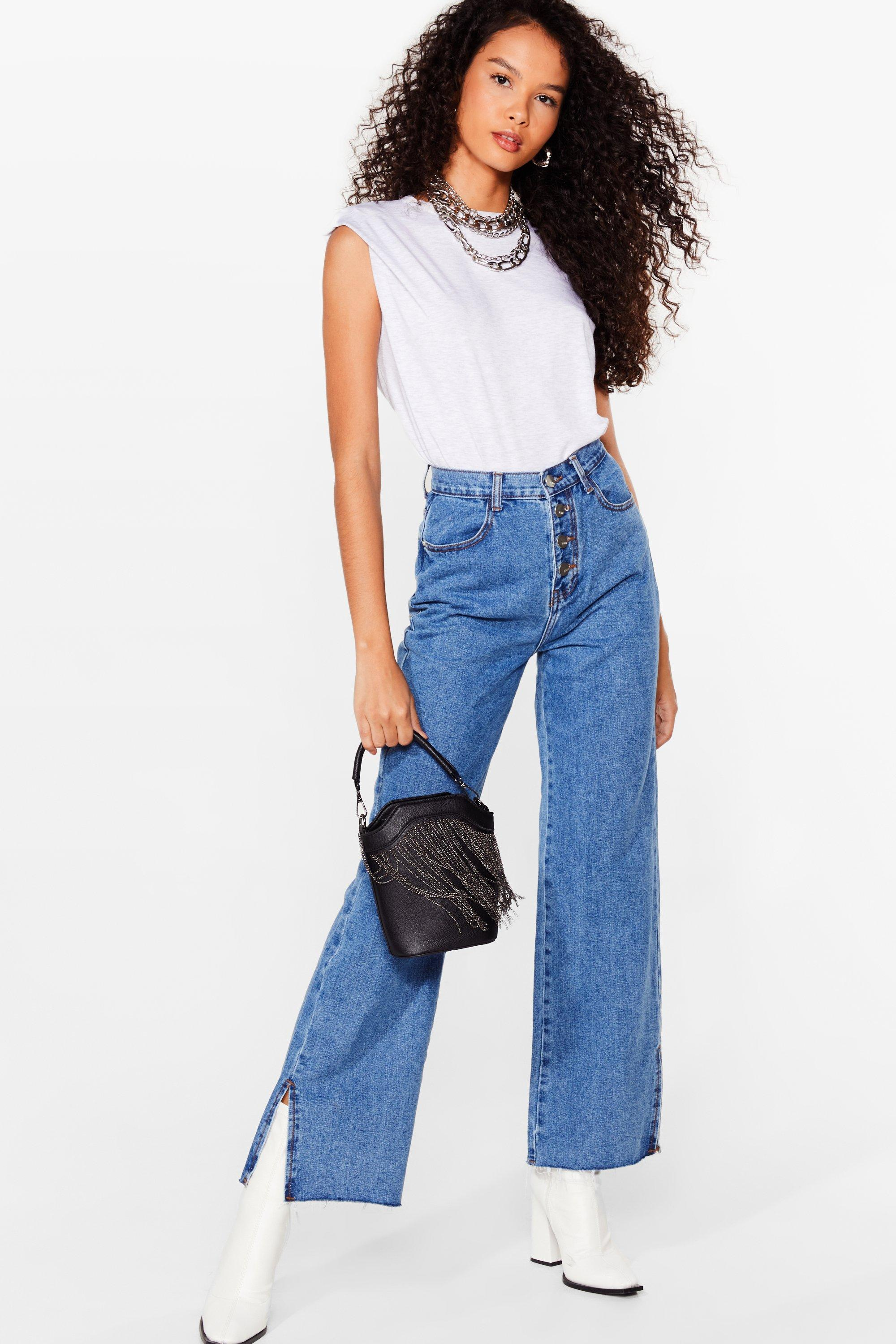 Image of Womens Button Me Up Relaxed Slit Jeans - Blue