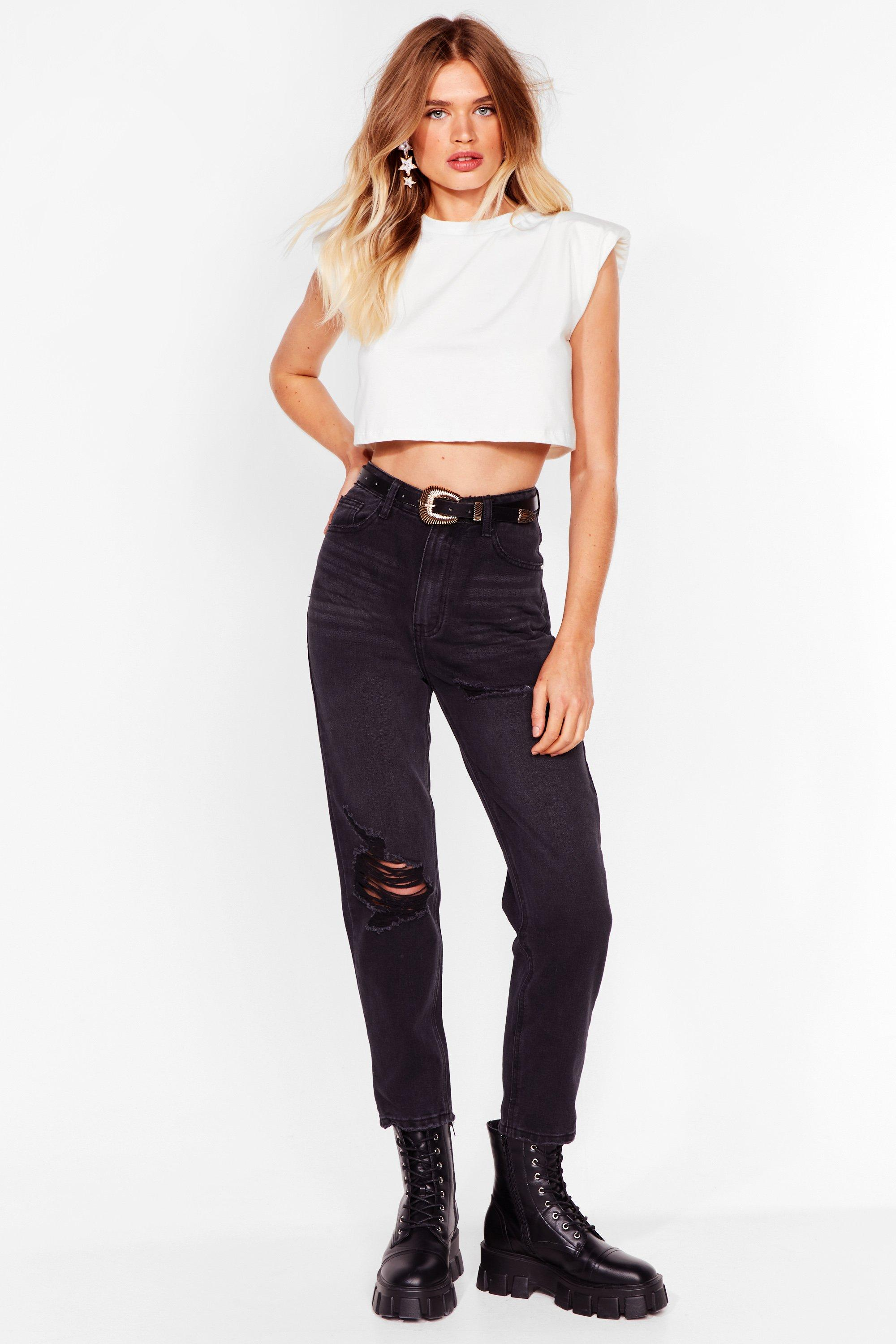 Image of Womens Don't Distress High-Waisted Mom Jeans - Black