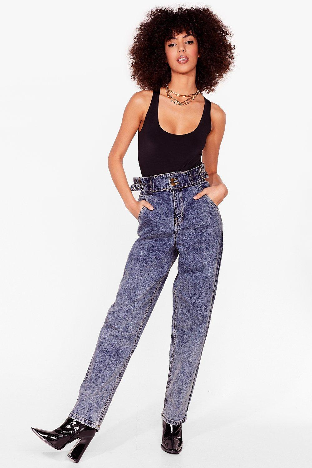 Image of Womens Wash Got into You High-Waisted Mom Jeans - Vintage Blue