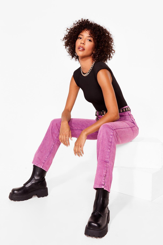 Image of Womens Let's Split Straight-Leg Jeans - Raspberry