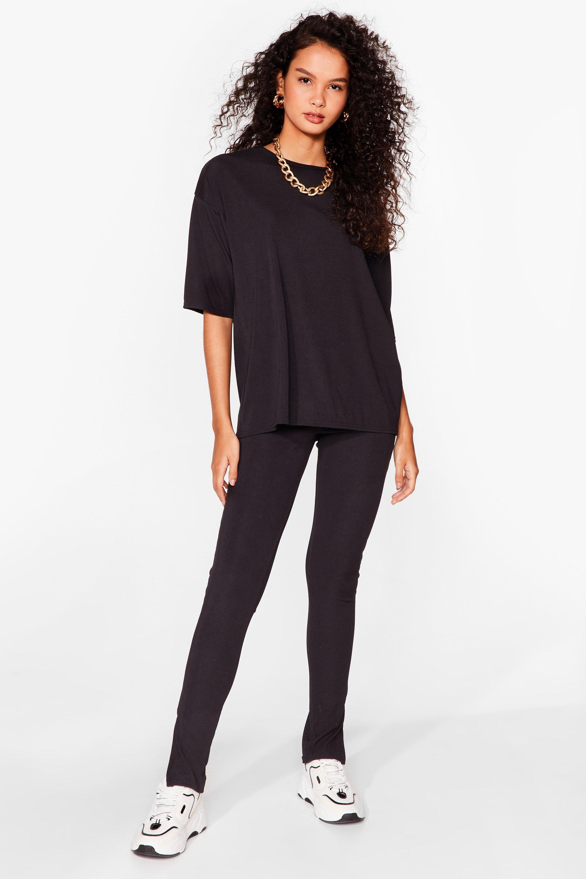 Image of Womens Take It Easy Oversized Tee and Leggings Set - Black