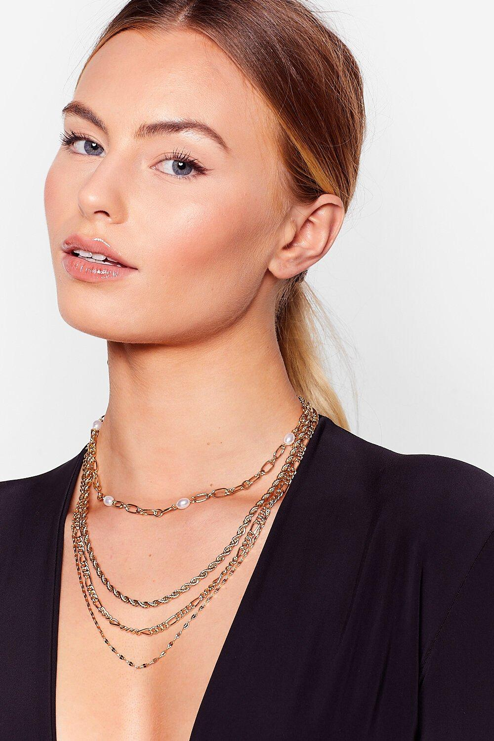 Image of Womens 4 Layer Chain Necklace - Gold