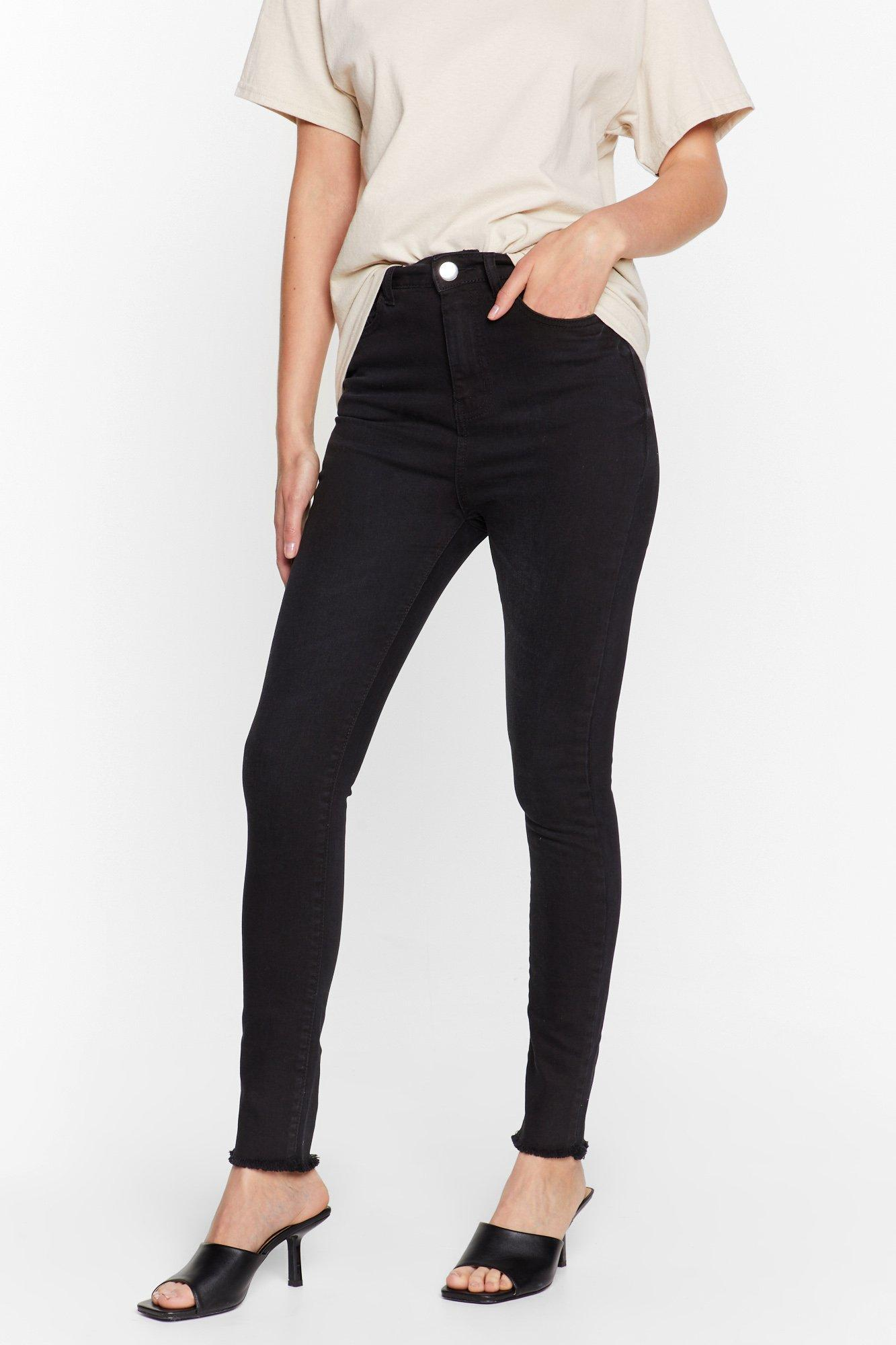 Image of Womens We Raw It First High-Waisted Skinny Jeans - Black