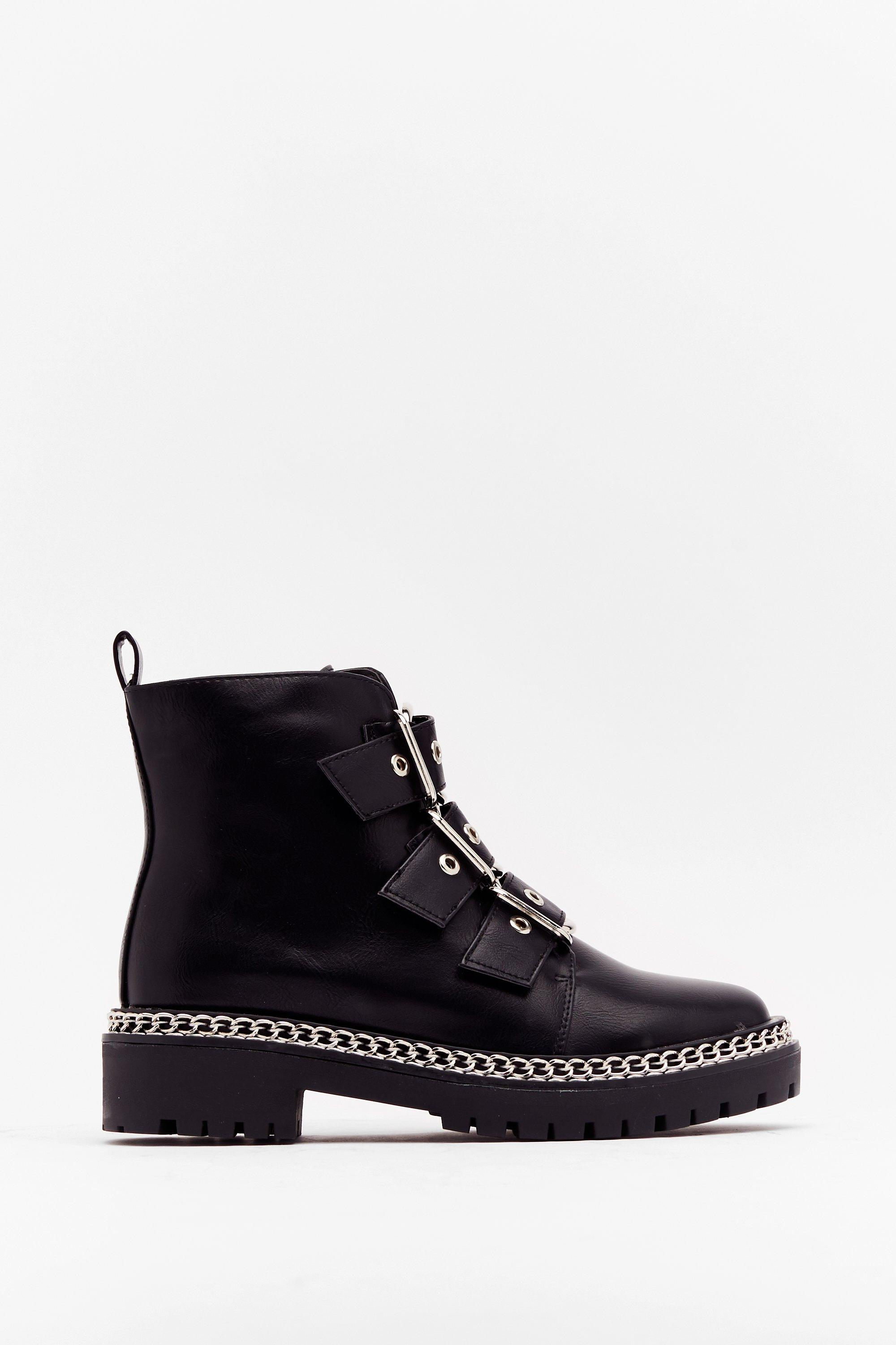 Image of Womens Walk That Way Faux Leather Buckle Boots - Black