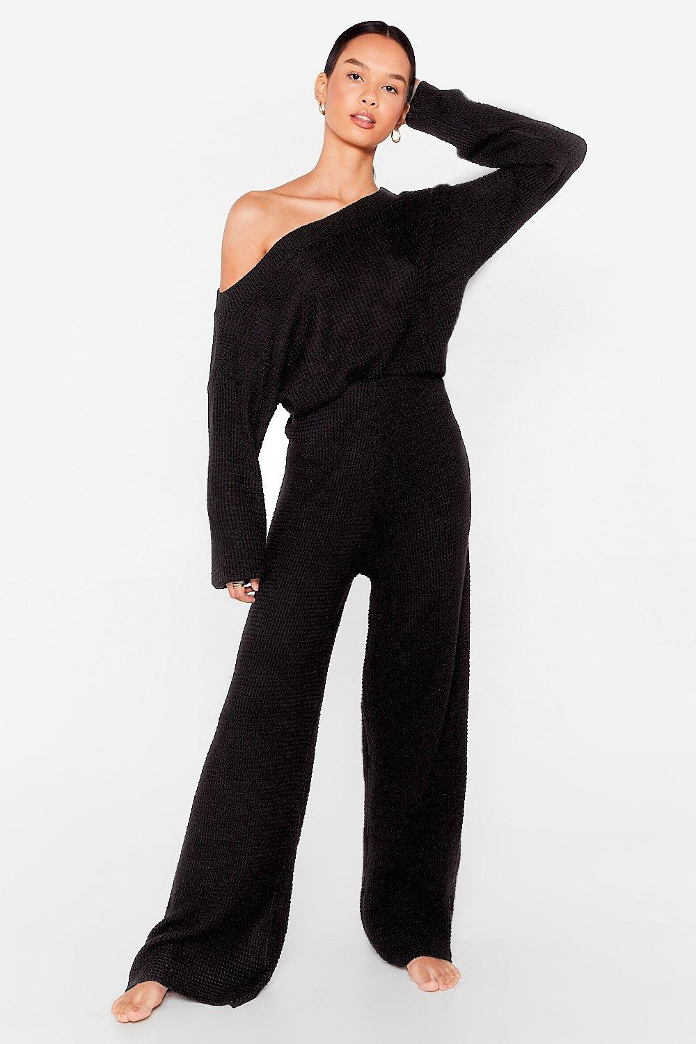 Image of Womens Waffle Top and Legging Set - Black