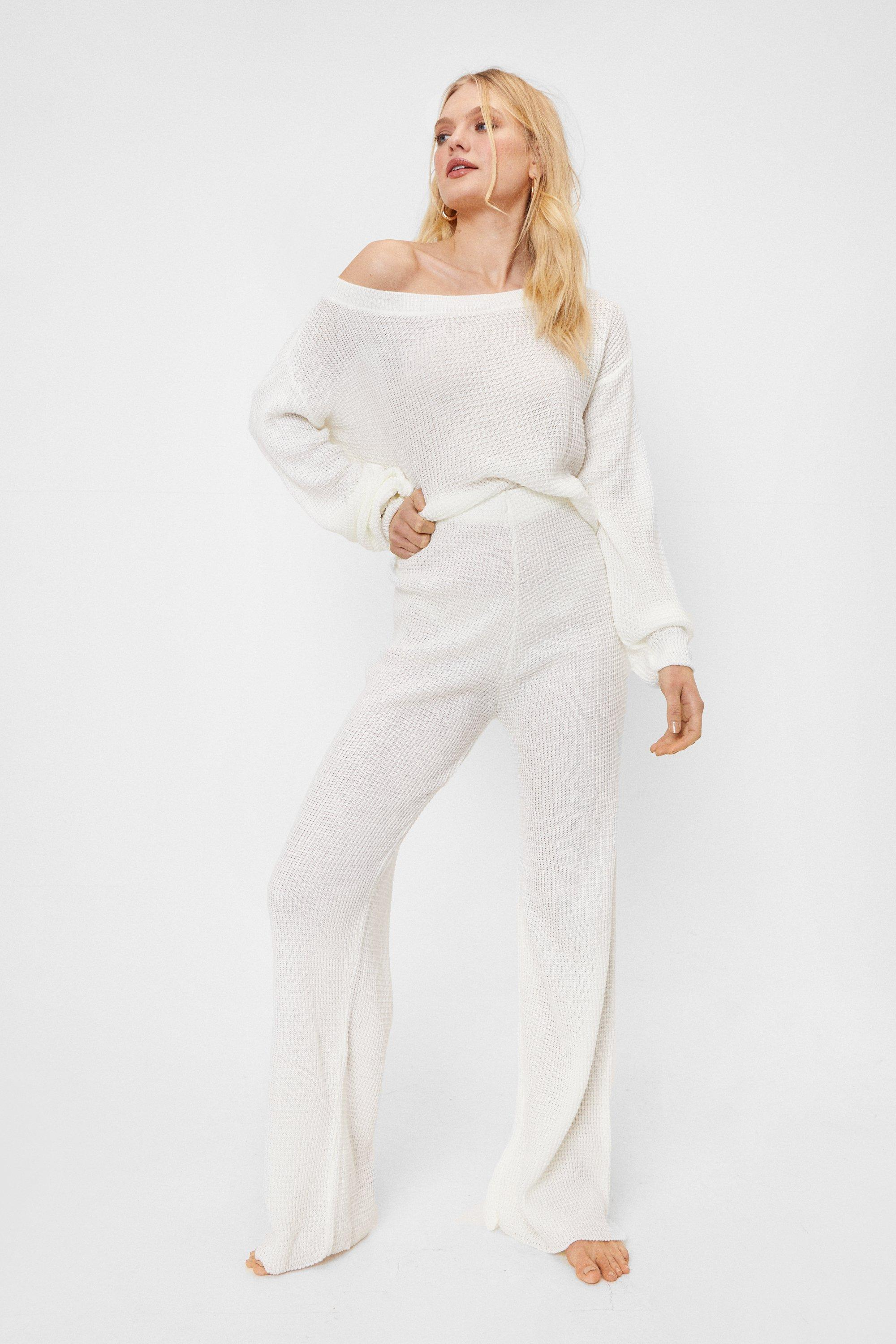 Image of Womens Waffle Top and Legging Set - Cream