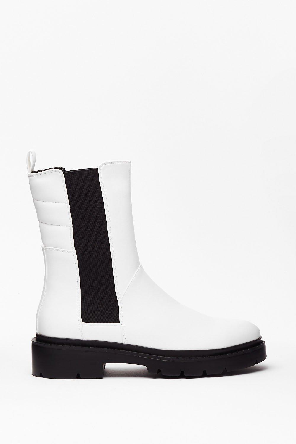 Image of Womens PU Long Gusset Chelsea Boot - White