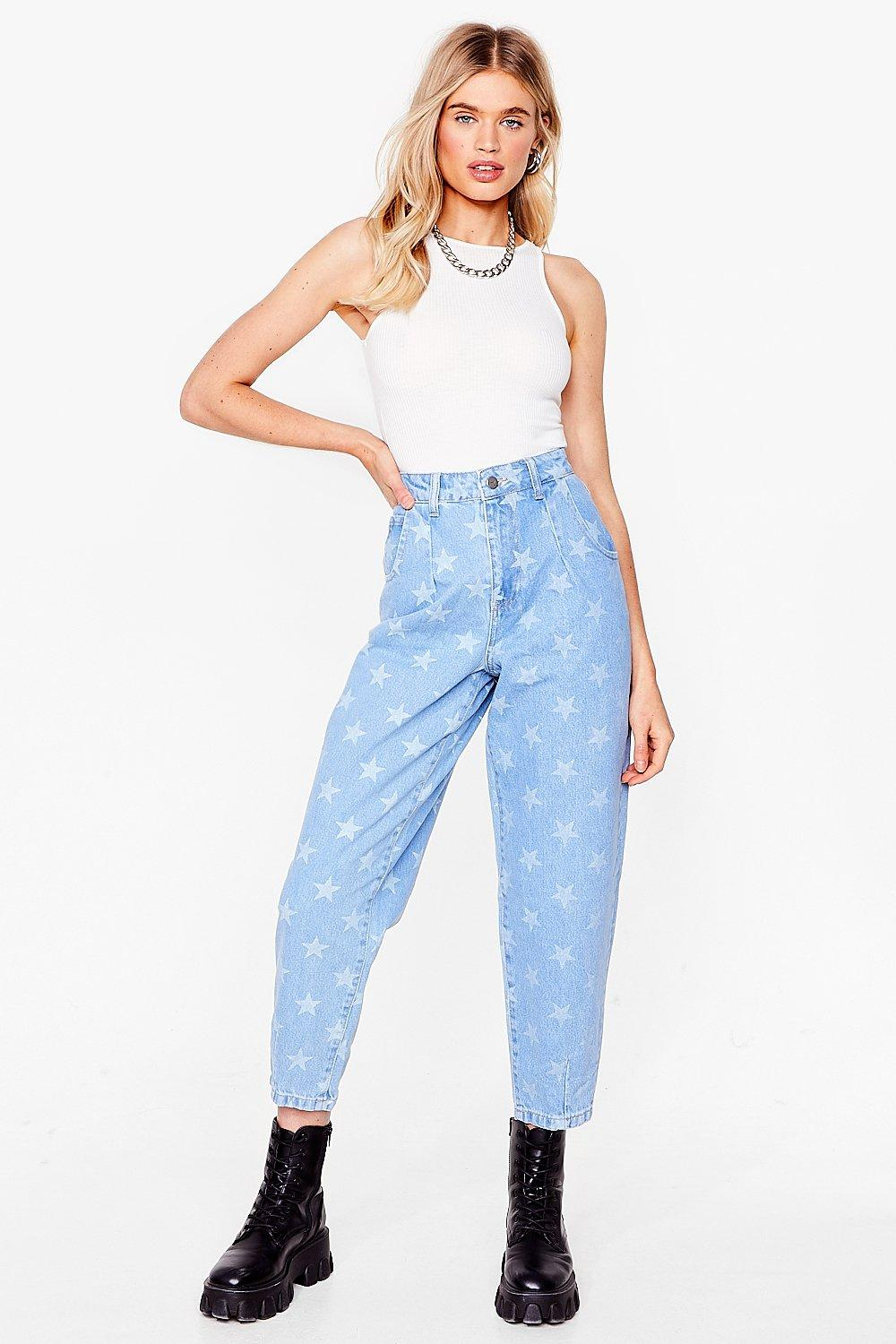 Image of Womens Baby You're a Star Tapered Jeans - Light Blue