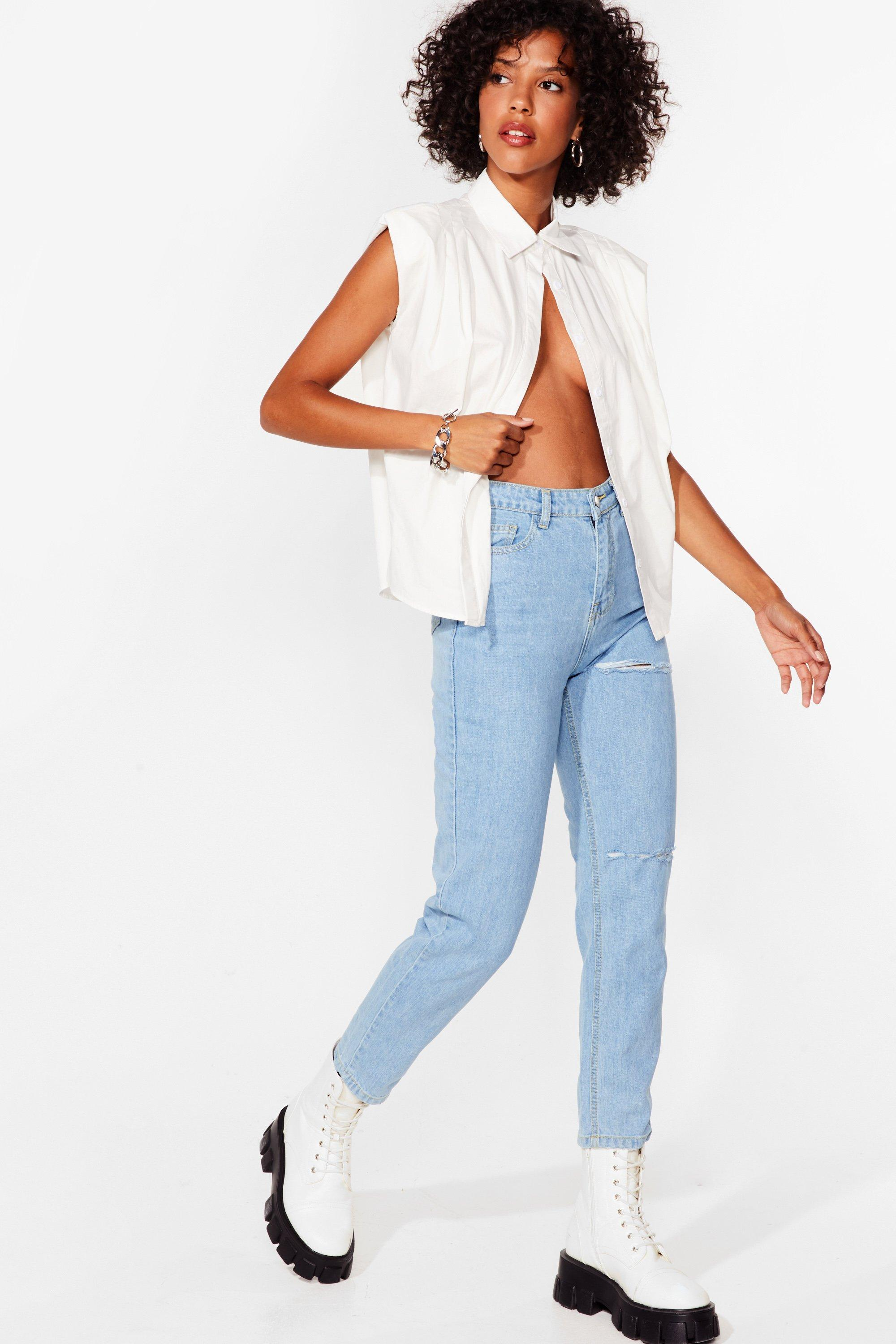 Image of Womens Not a Distress in the World Mom Jeans - Light Blue