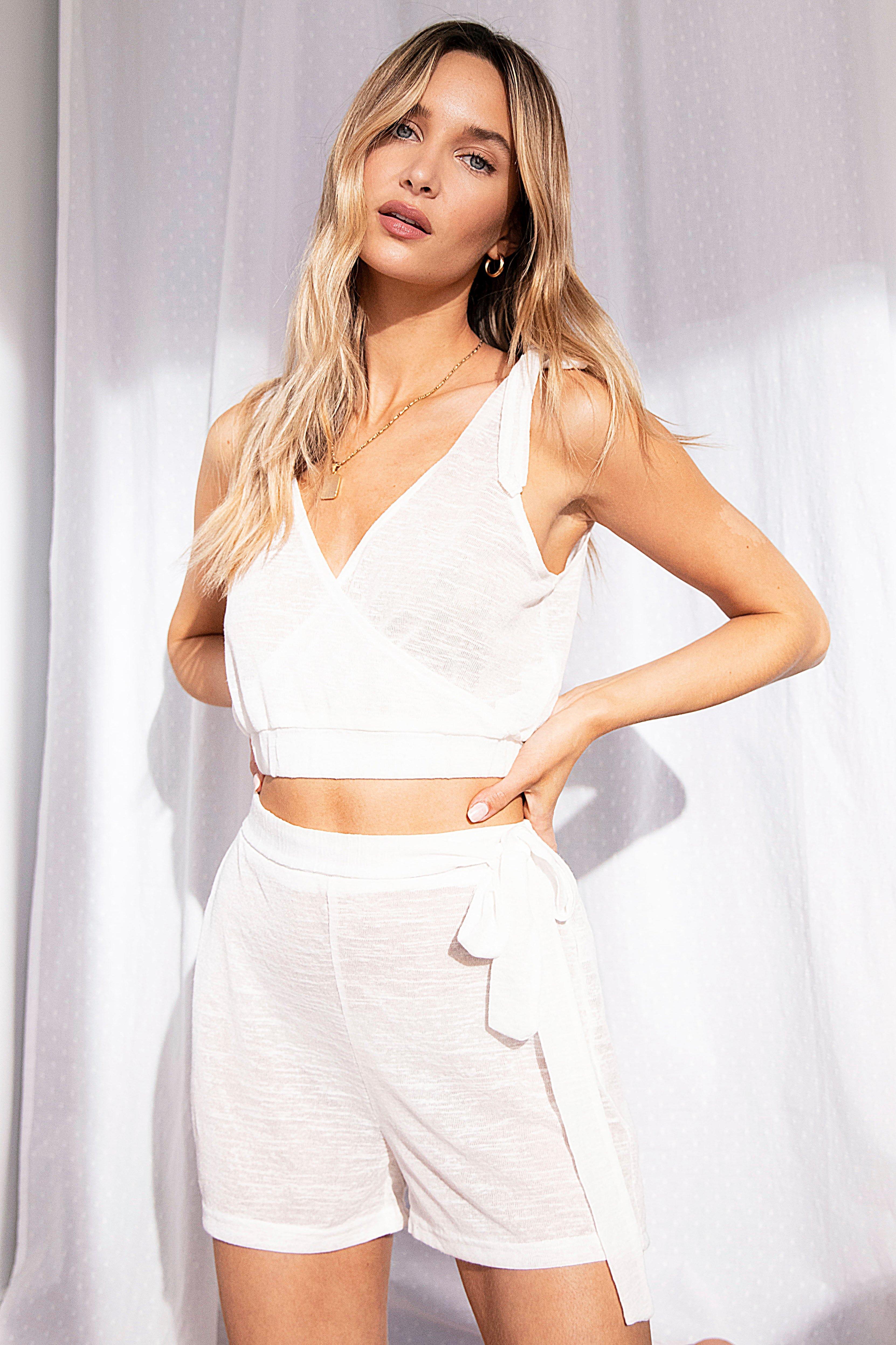 Image of Womens Lightweight Knit Tie Waist Loungewear Short - Cream