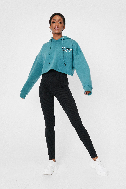 Image of Womens Call Rib Even High-Waisted Leggings - Black