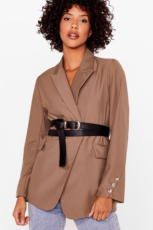 Image of Womens Wrap Away Faux Leather Waist Belt - Black