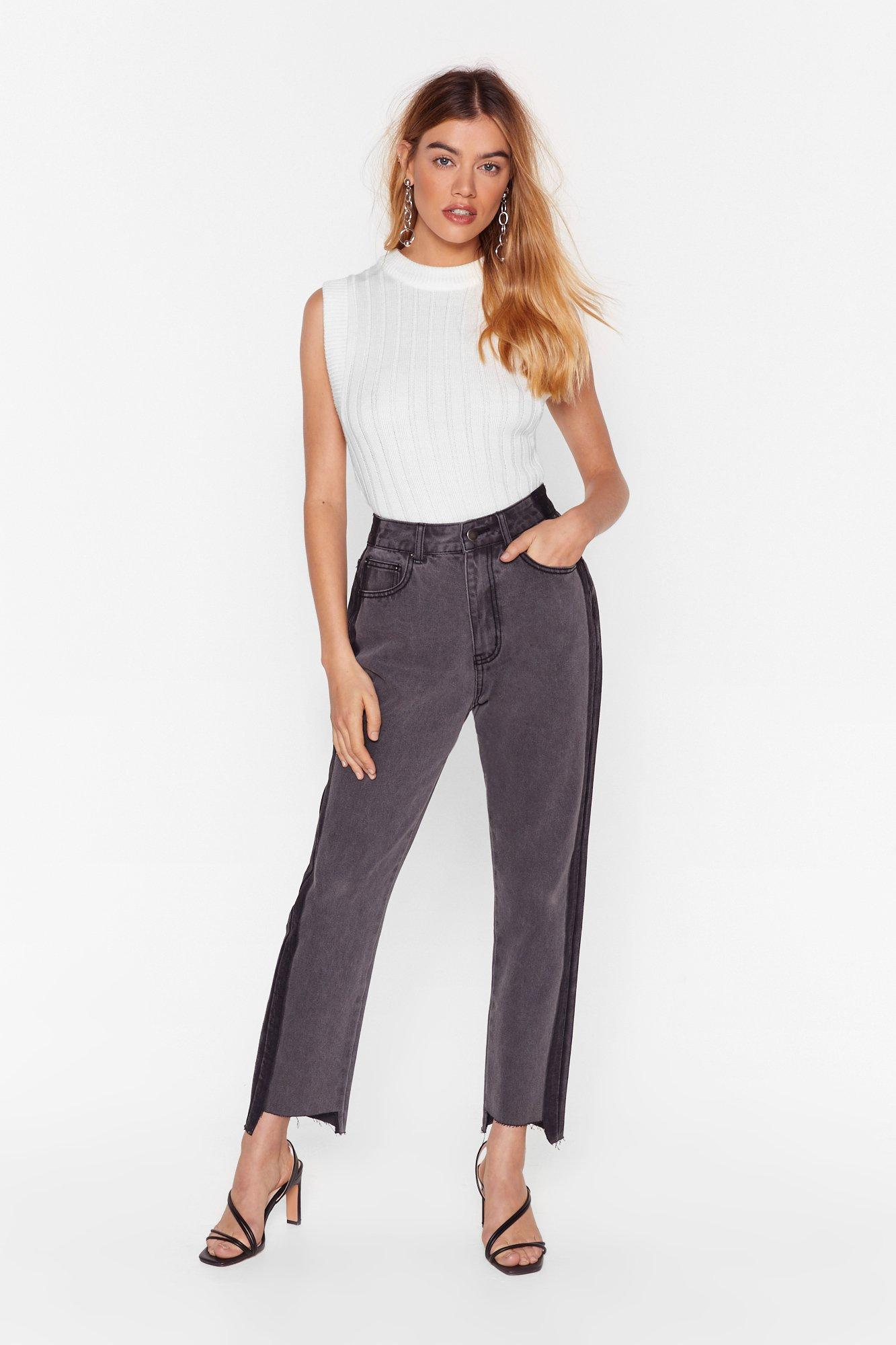 Image of Womens Side by Side High-Waisted Mom Jeans - Grey