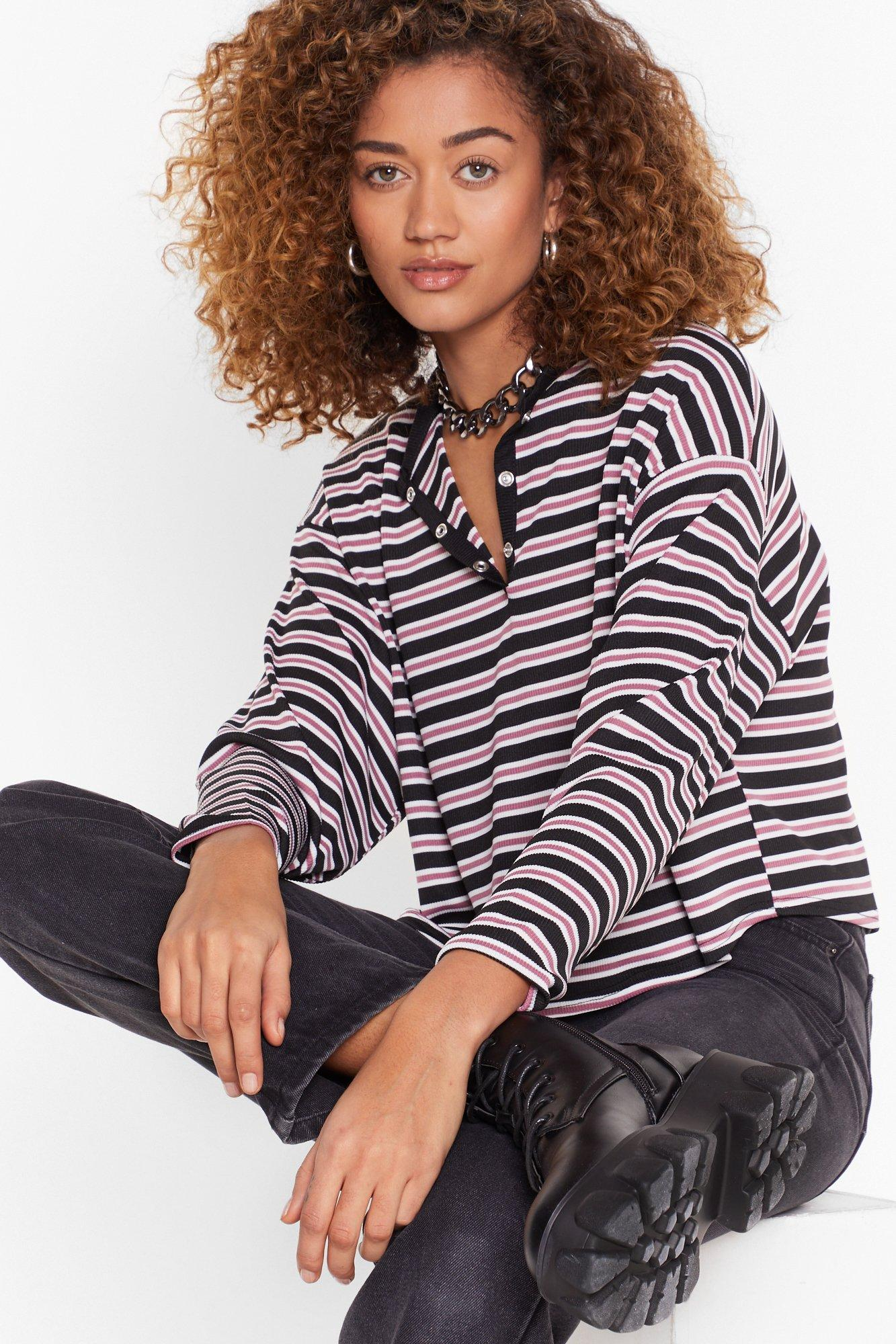 Image of That's All Stripe Button-Down Cropped Top