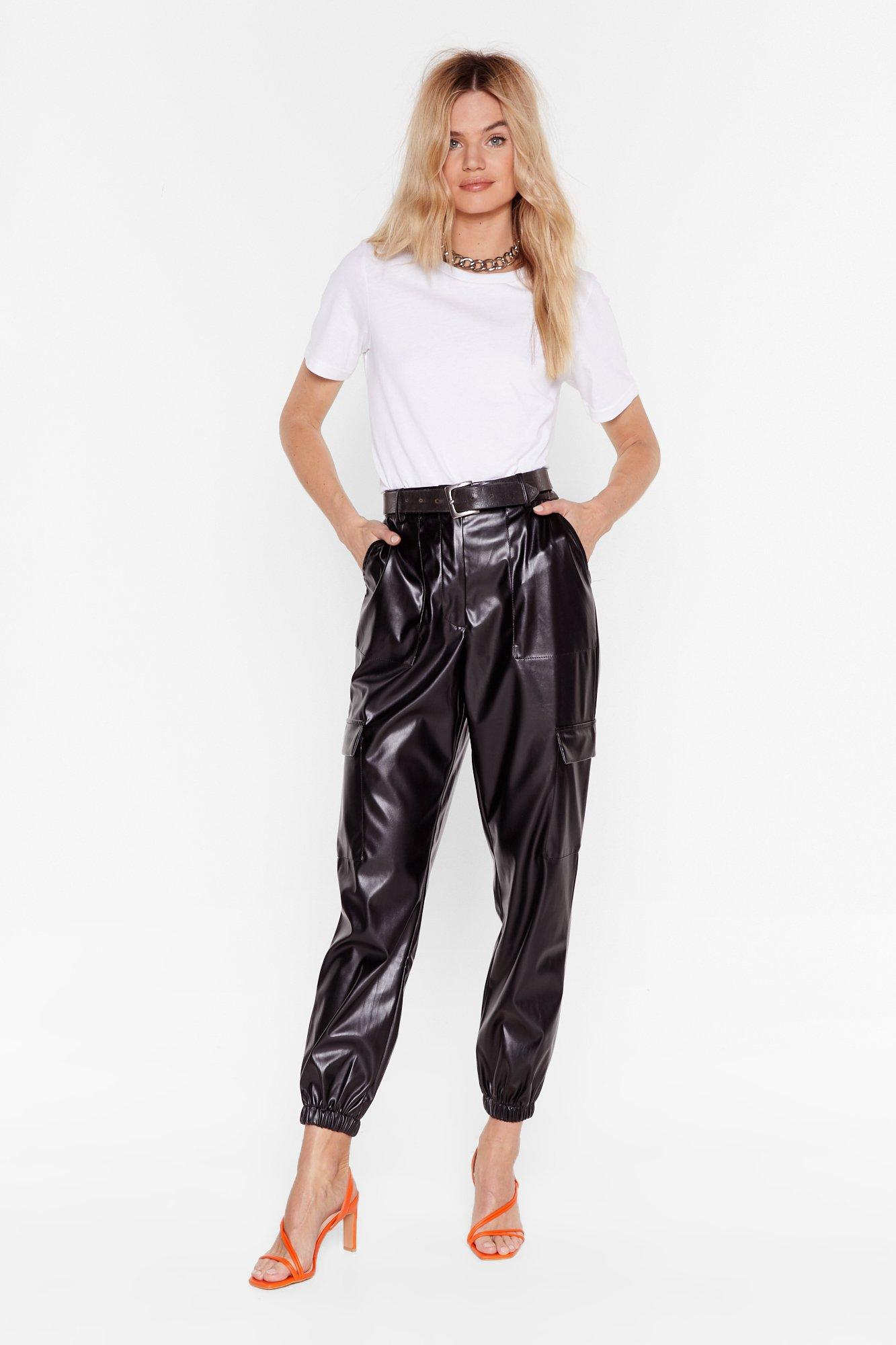 Image of Faux Leather Too Old Utility High-Waisted Pants