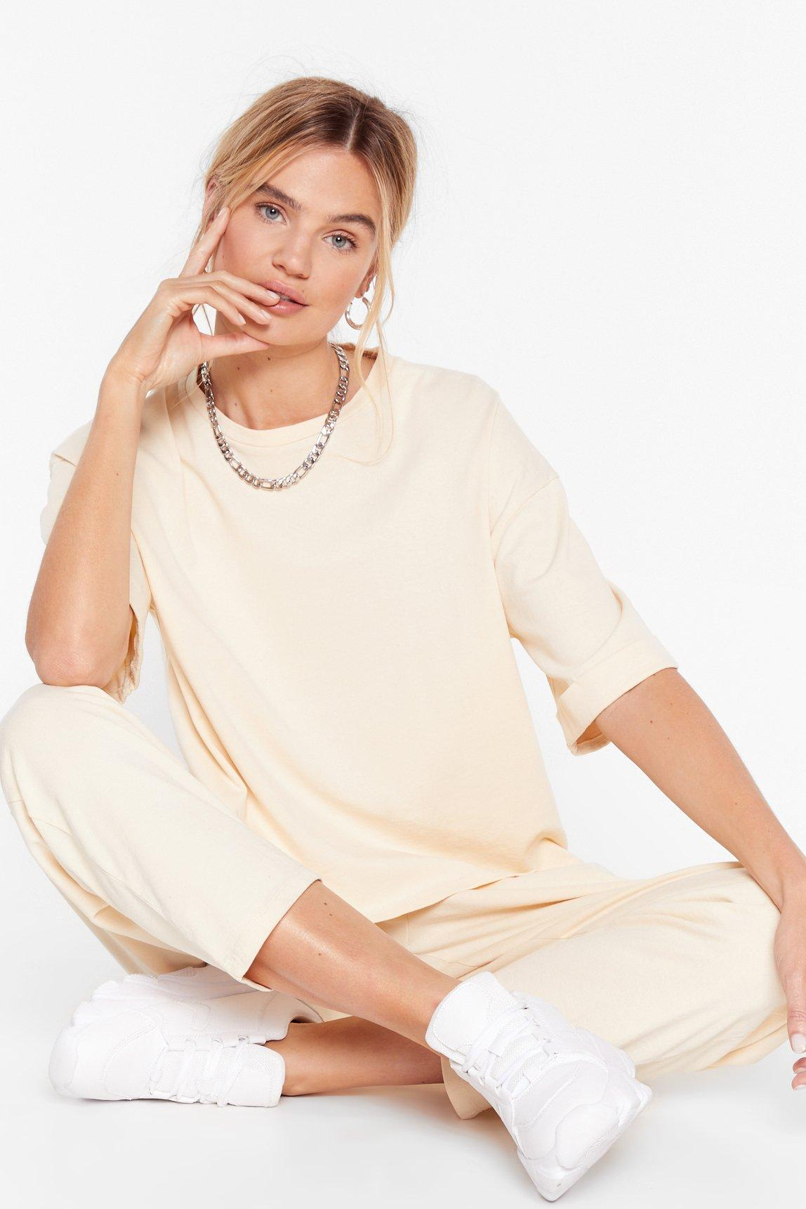 Image of Womens Big On Comfort Oversized Tee and Joggers Set - Sand