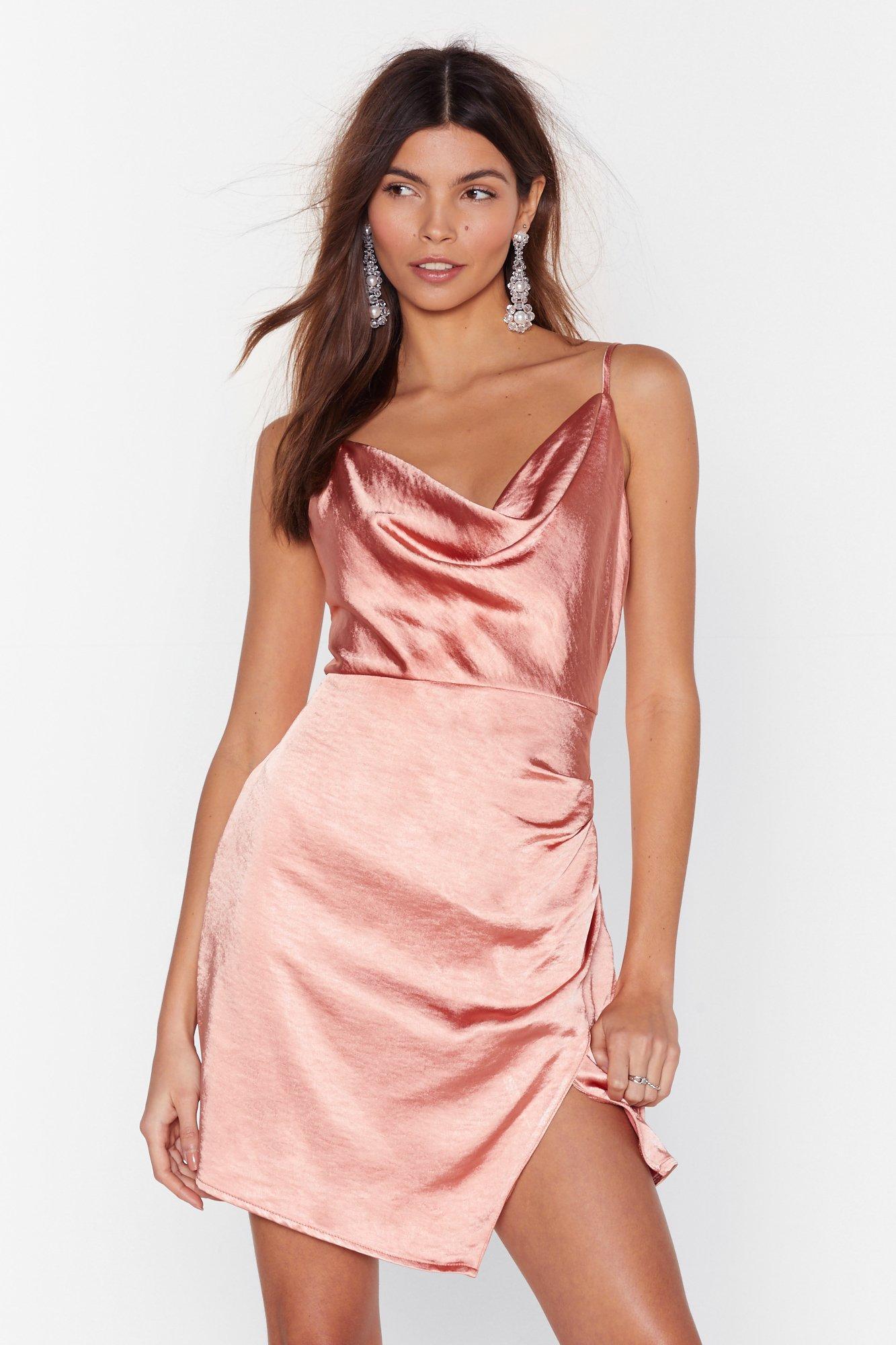 Image of Don't Cowl Me Angel Satin Wrap Dress