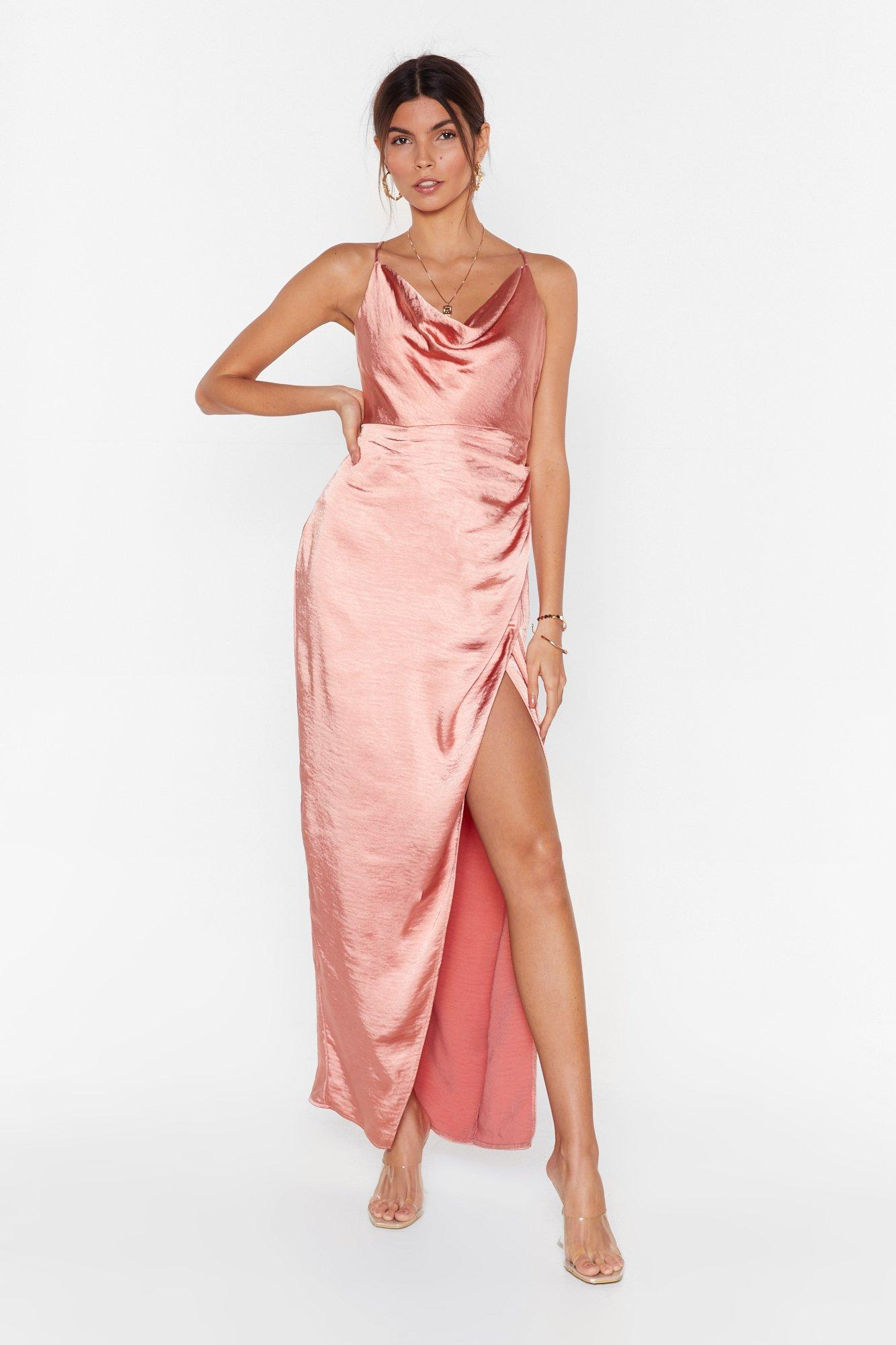 Image of Don't Cowl Me Angel Satin Maxi Dress