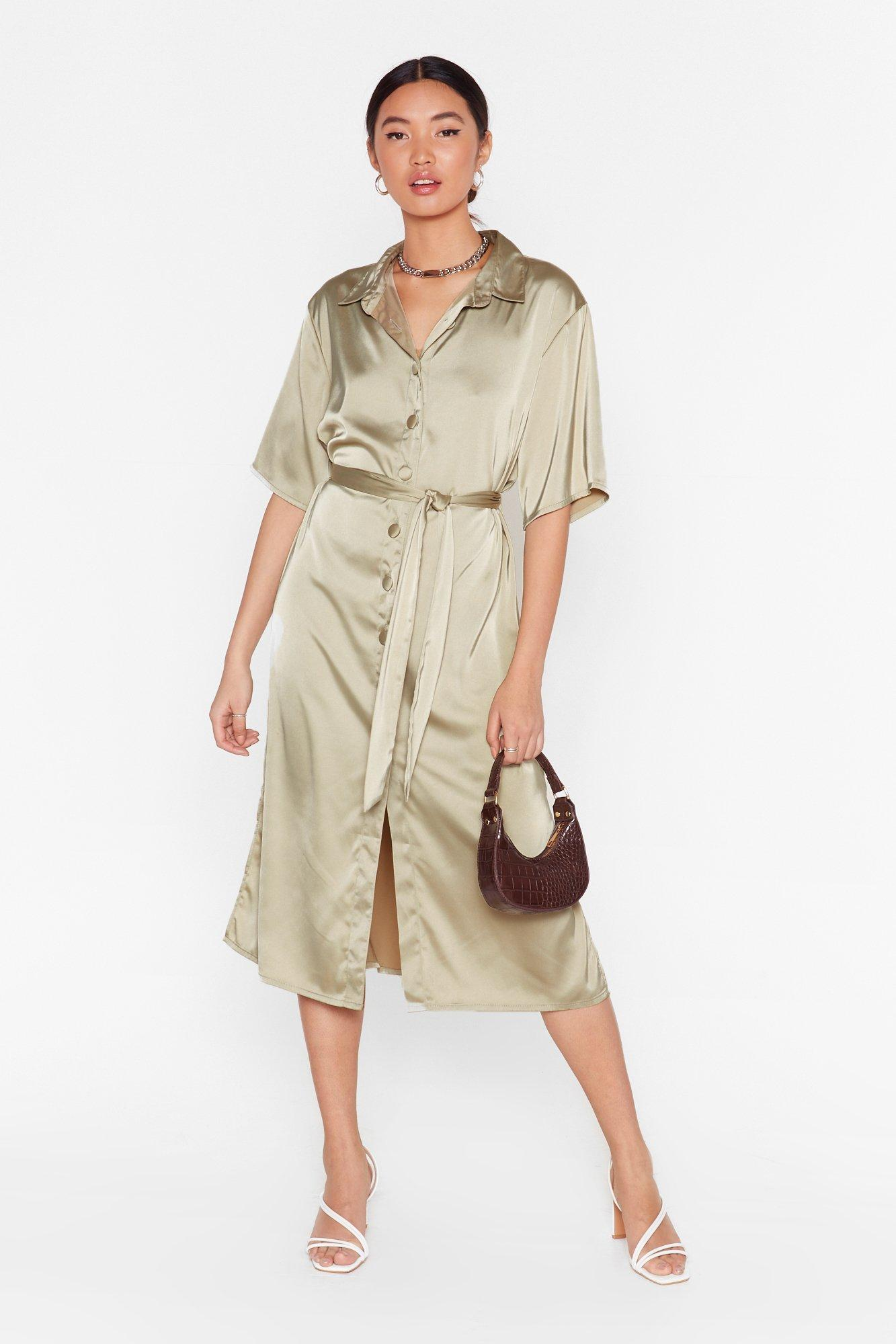 Image of Talk Shirty to Me Satin Midi Dress