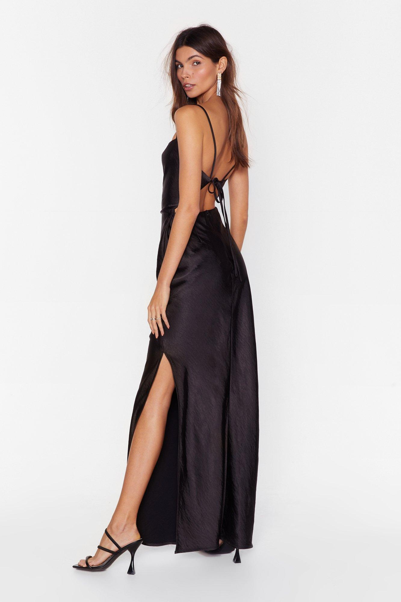 Image of Tie Low Satin Maxi Dress