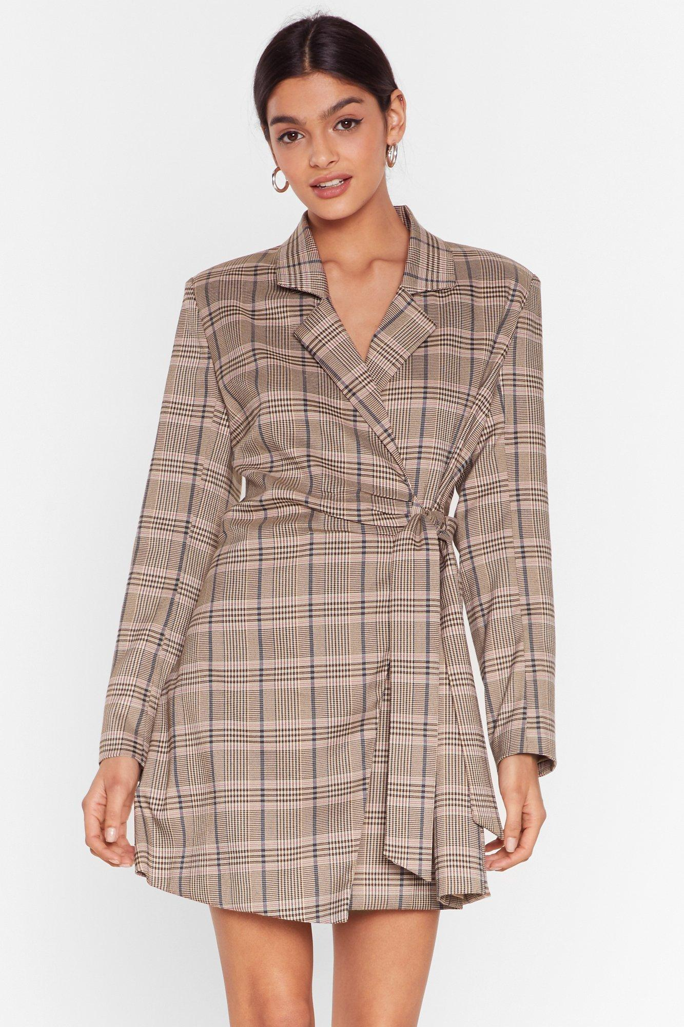 Image of Check Out the View Tie Blazer Dress