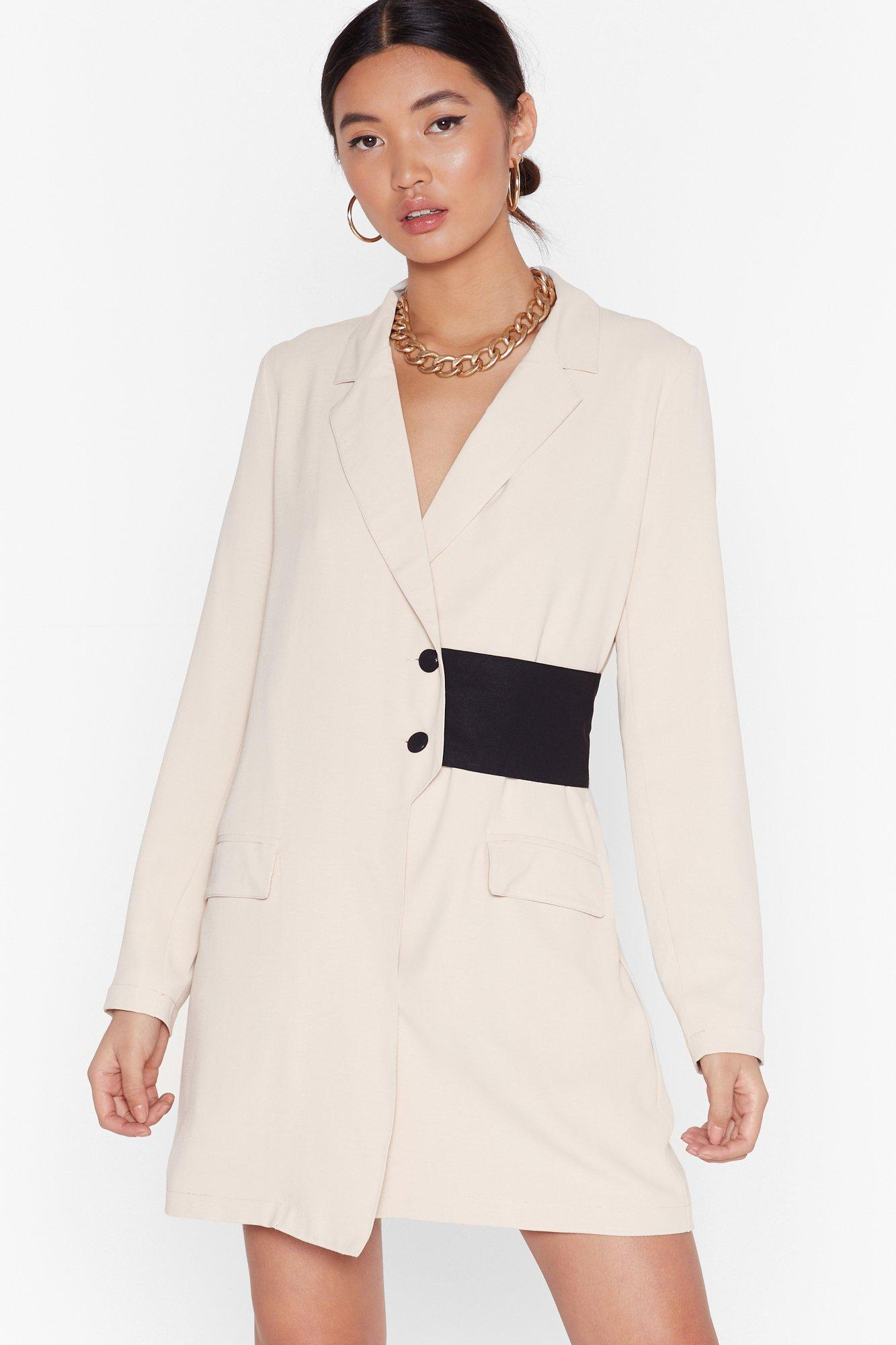 Image of Nothing Gets Contrast Me Mini Blazer Dress