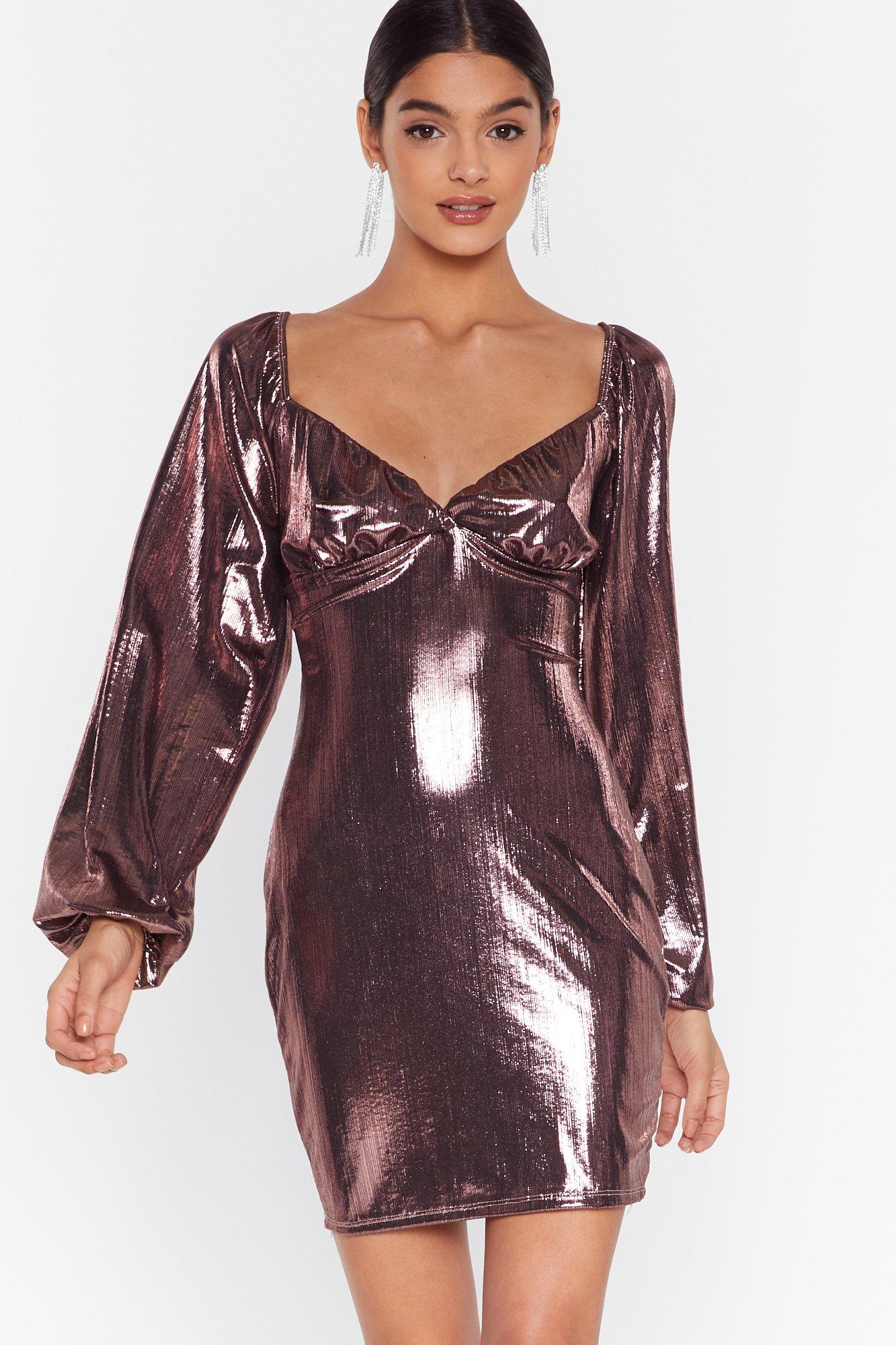 Image of Bust Can't Get Enough Metallic Mini Dress