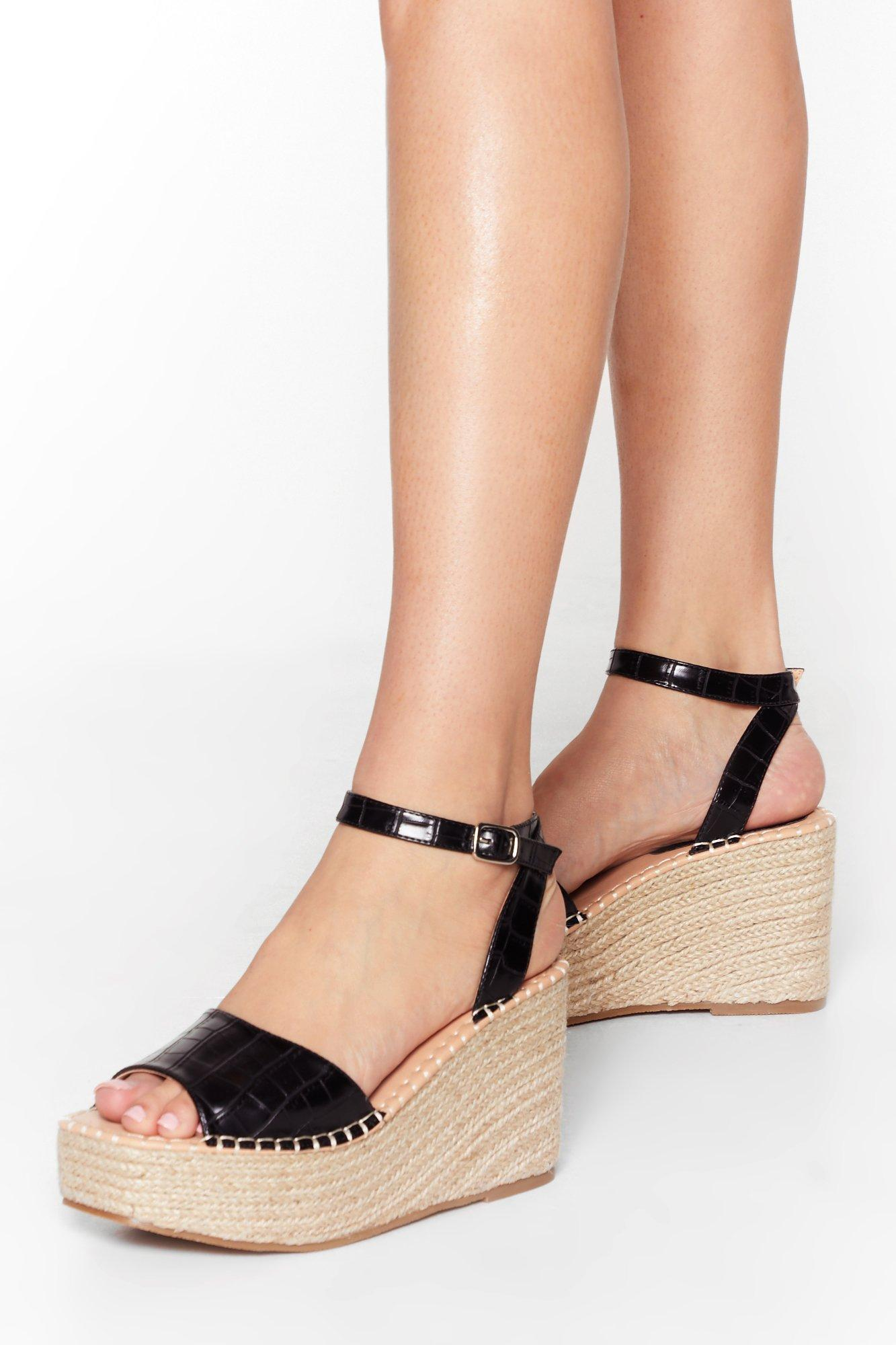 Image of Womens Croc With You Woven Wedge Sandals - Black