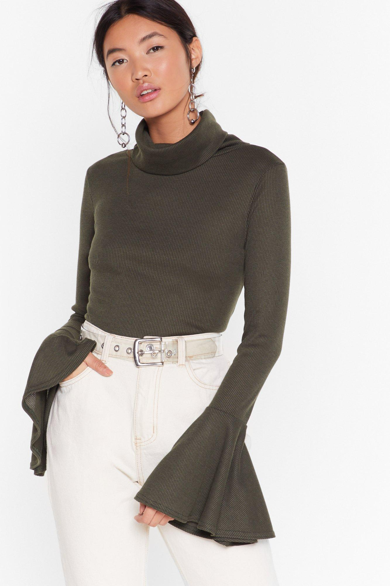 Image of As if We'd Flare Turtleneck Ribbed Top
