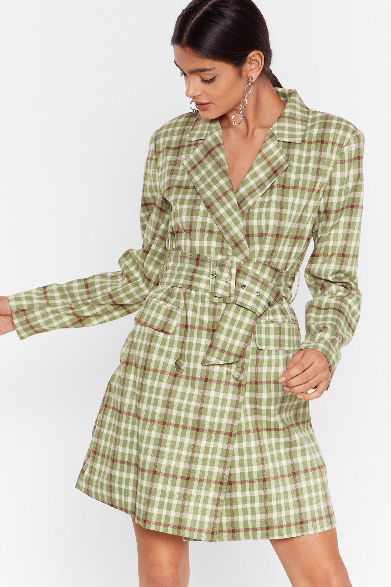 Image of Reporting for Check-In Blazer Dress
