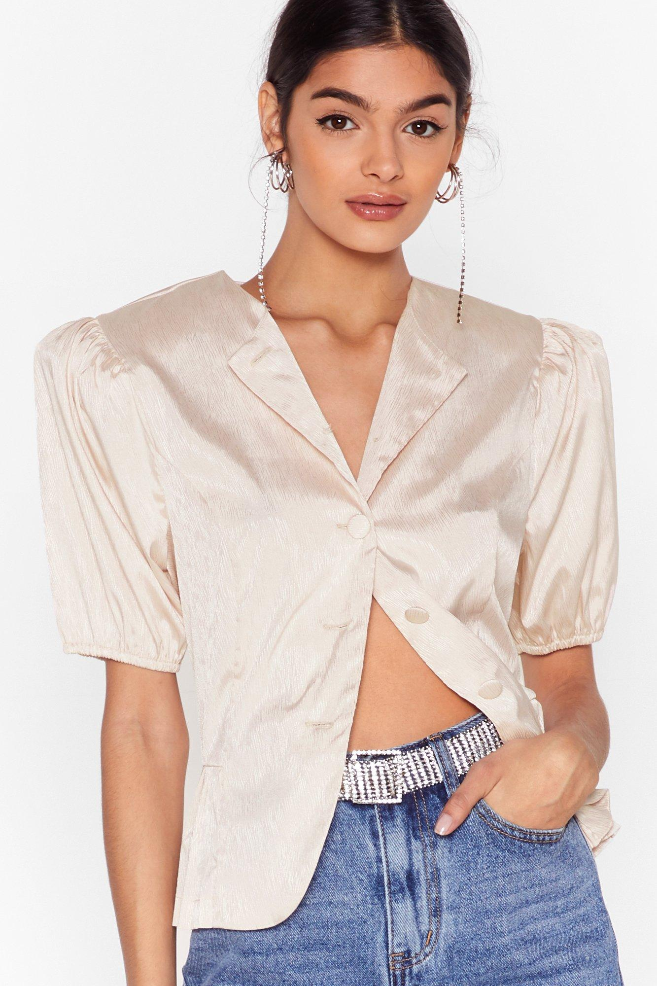 Image of Pleat You There Satin Puff Shoulder Blouse