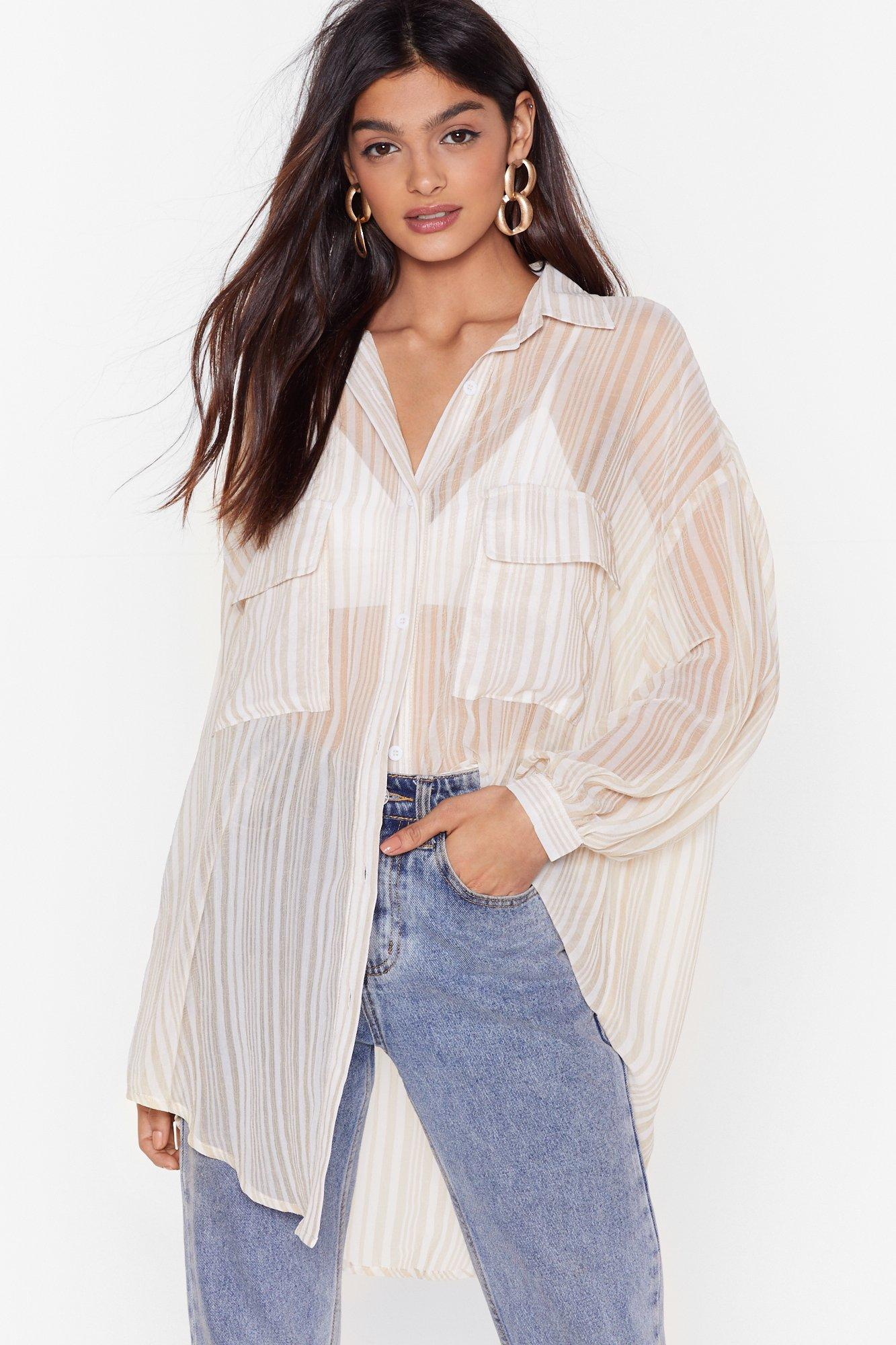 Image of Shirt It Here First Oversized Striped Shirt