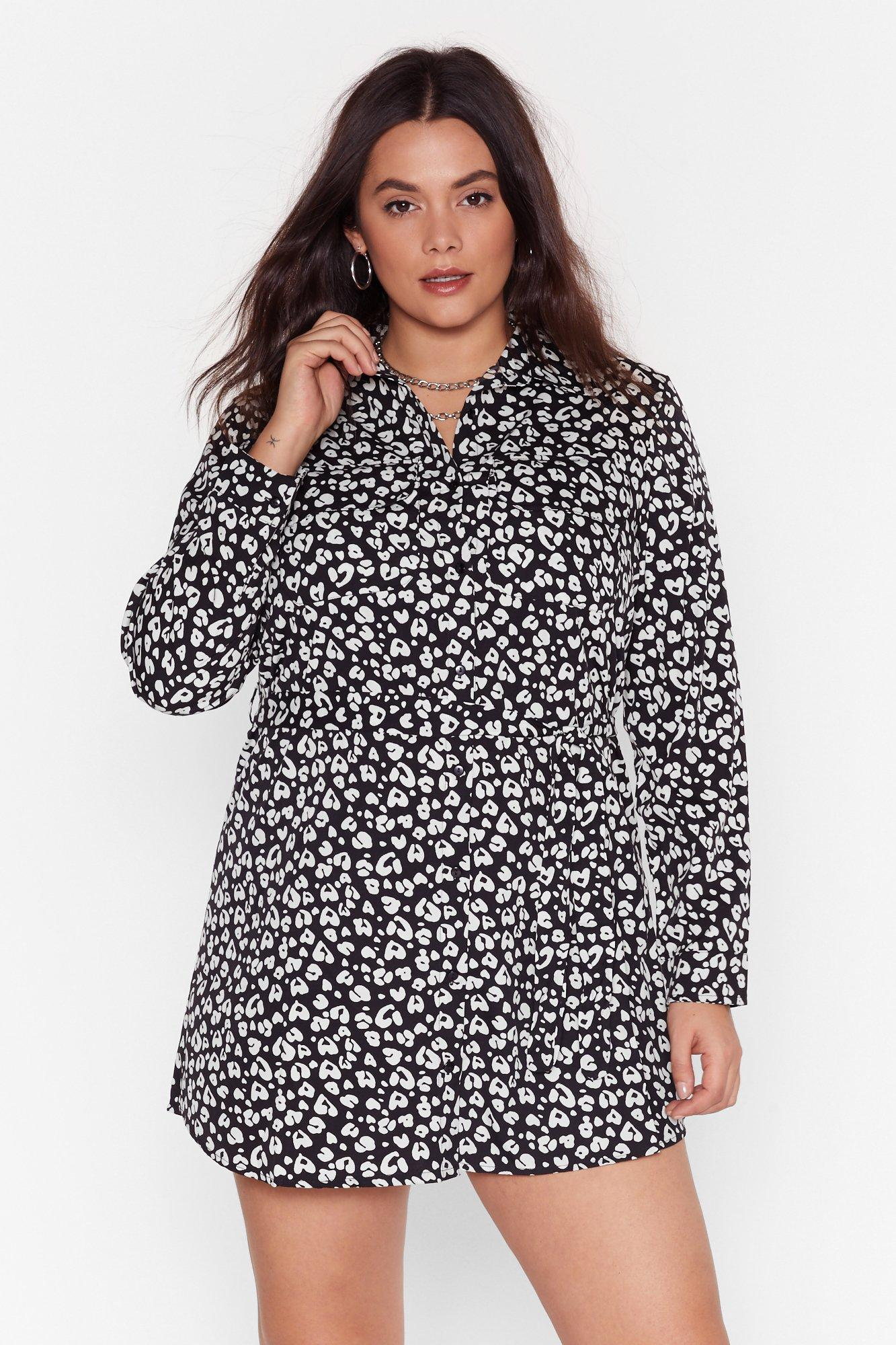 Image of Never a Dull Meow-ment Plus Leopard Shirt Dress