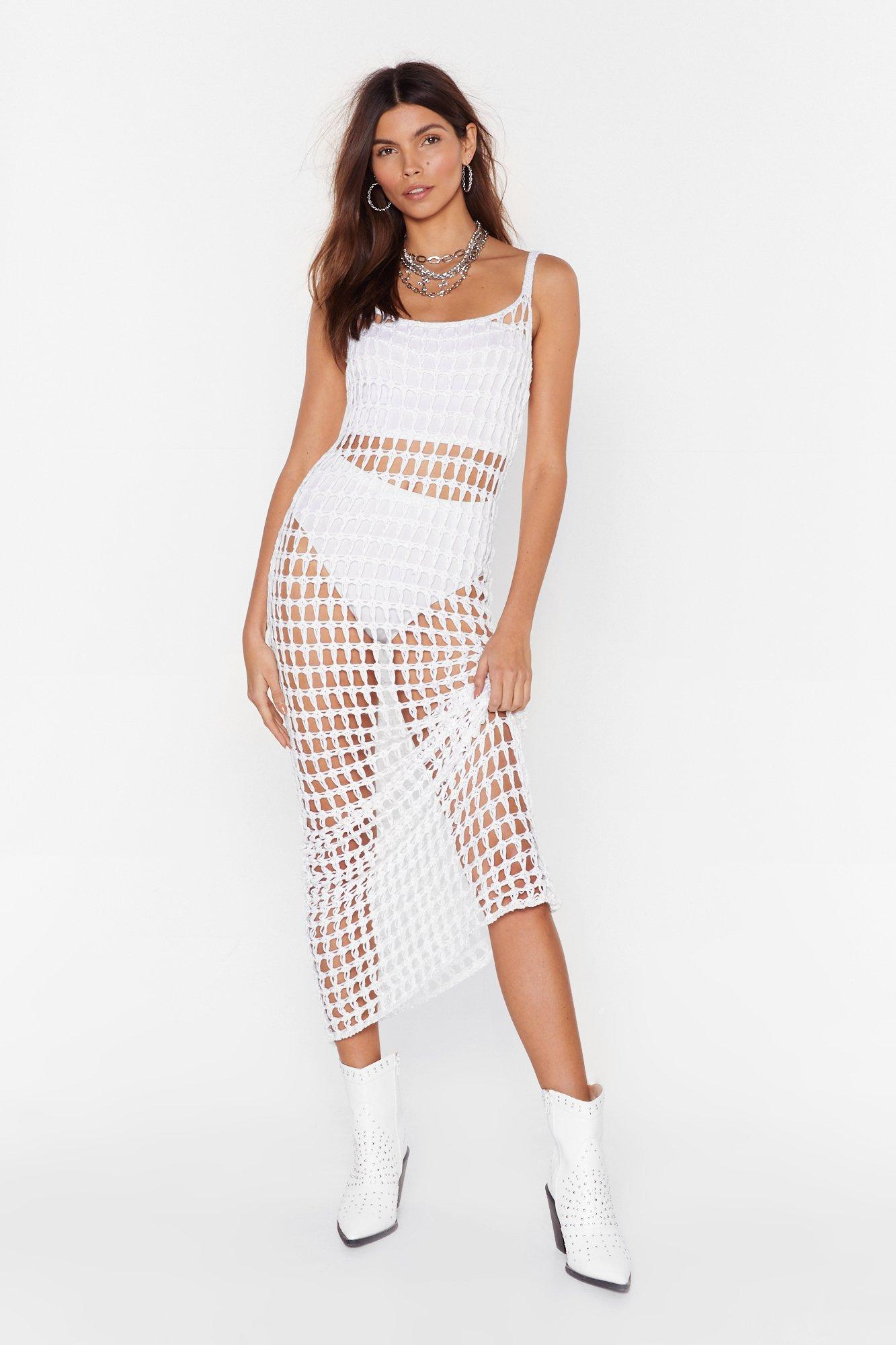 Image of Did It Our Crochet Strappy Maxi Dress