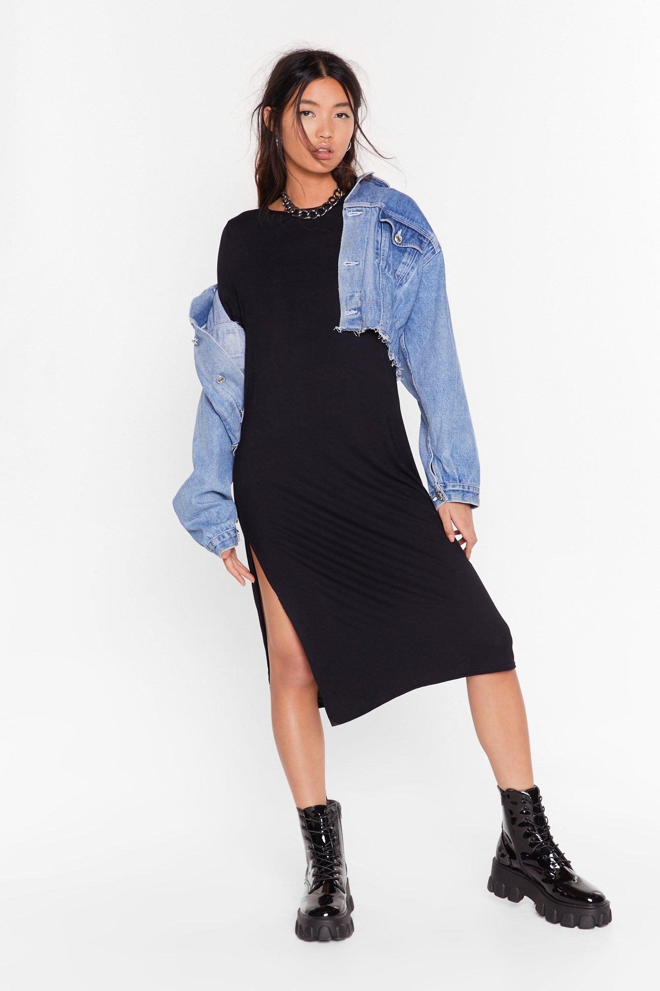 Image of Fuck This Slit Tee Midi Dress