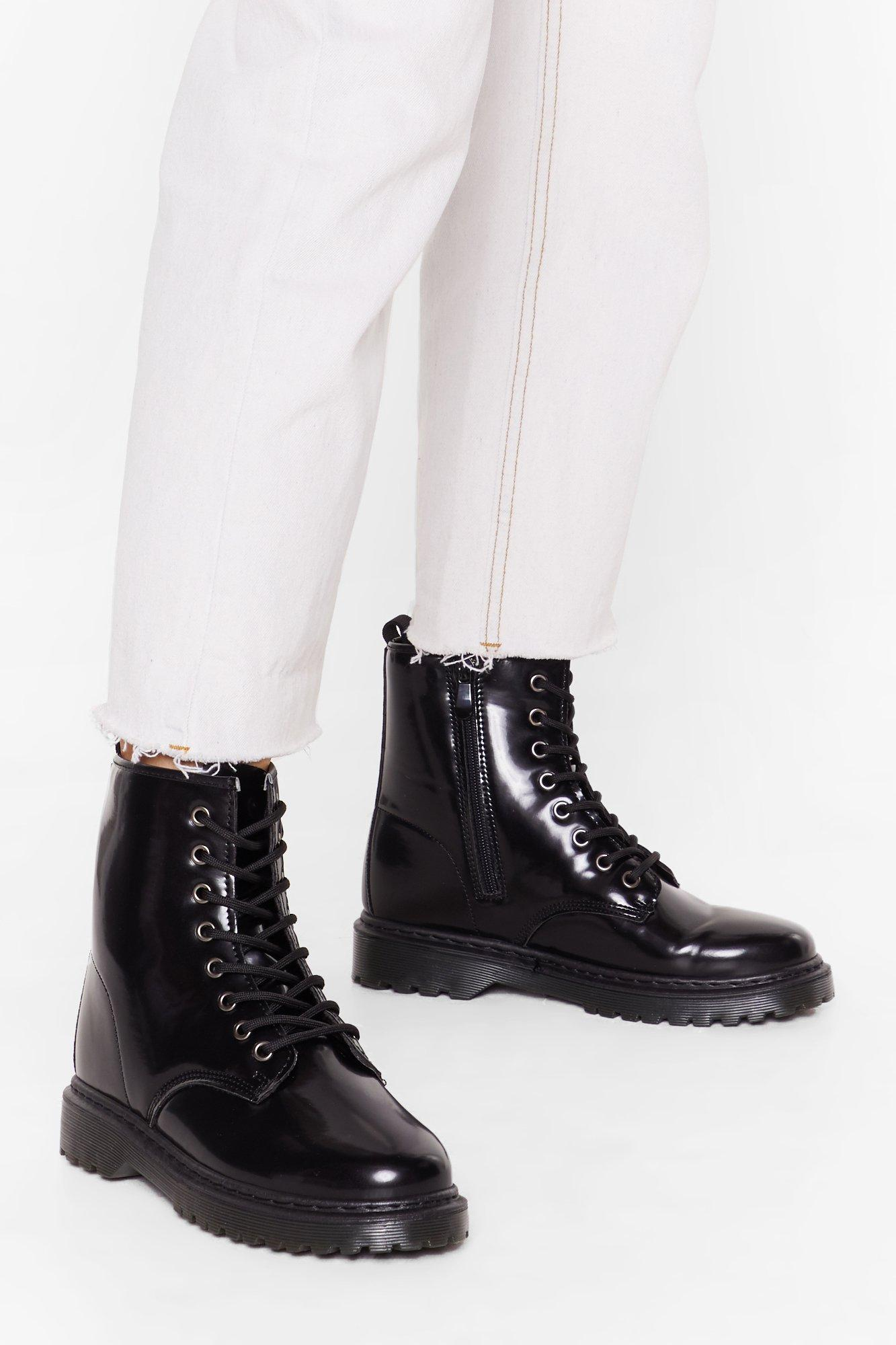 Image of Ain't Got Shine Faux Leather Lace-Up Boots