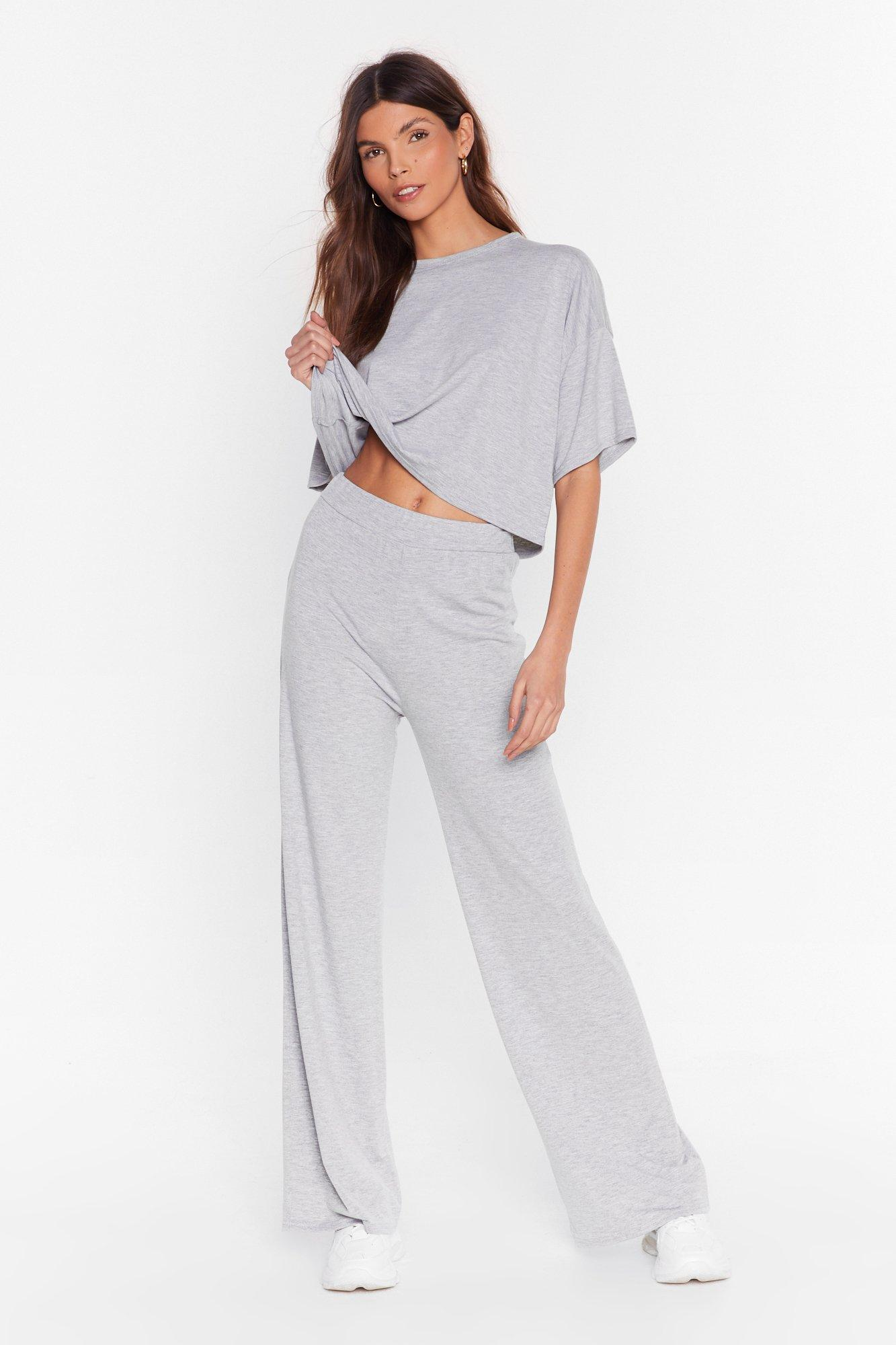Image of Chill Next Time Tee and Wide-Leg Pants Set