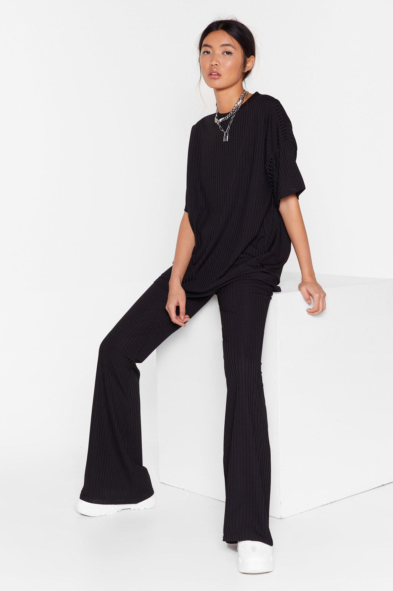 Image of Together Again Oversized Tee and Flare Pants Set