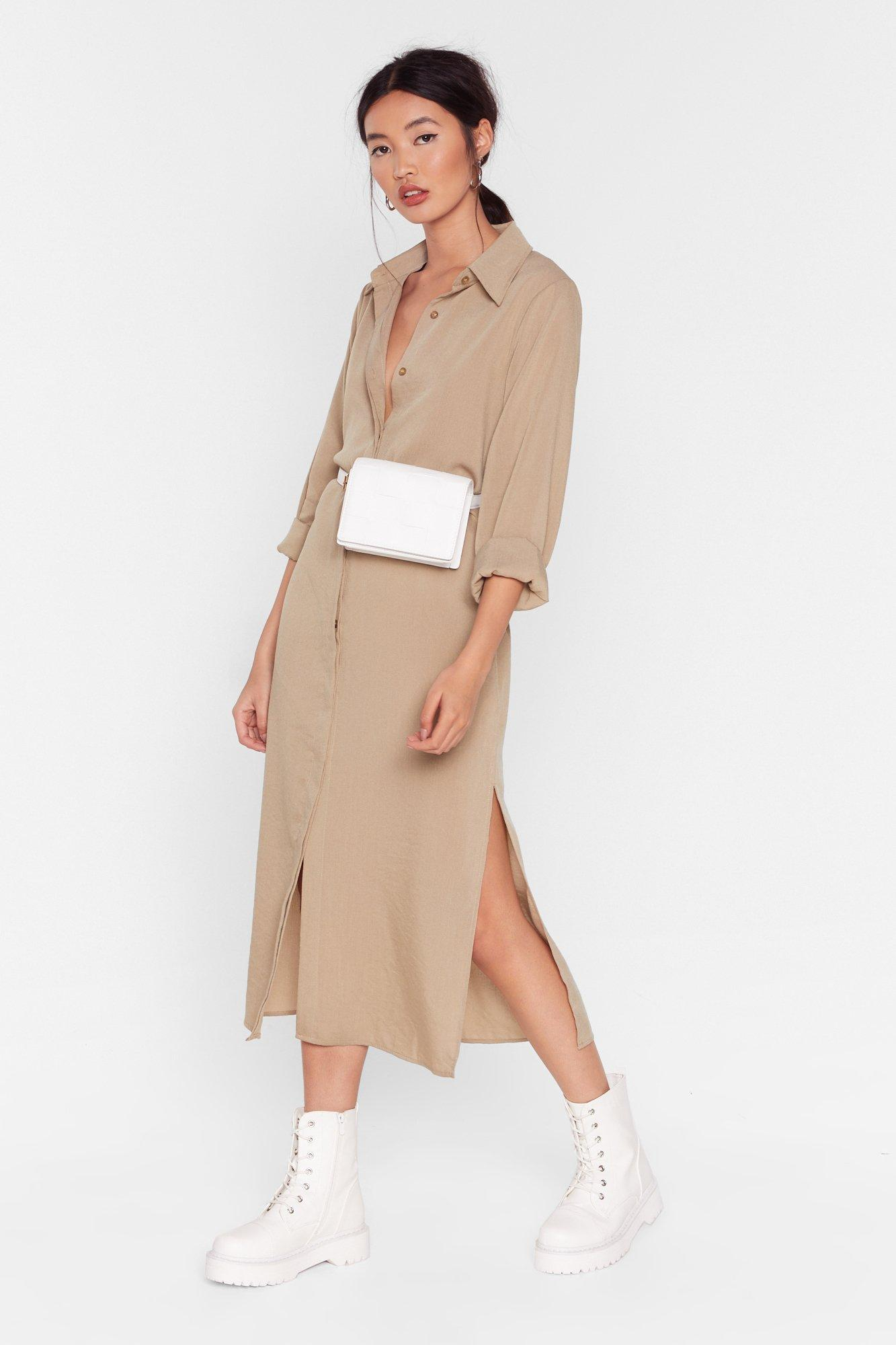 Image of Don't Get Shirty Belted Midi Dress