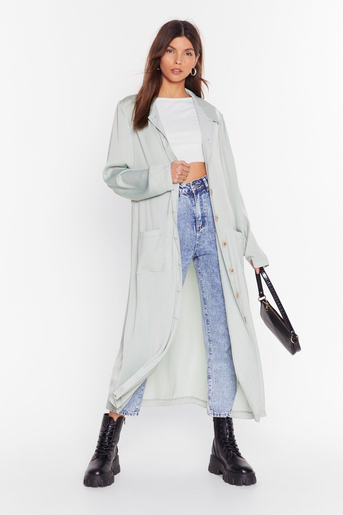 Image of Sleek in and Sleek Out Satin Duster Jacket