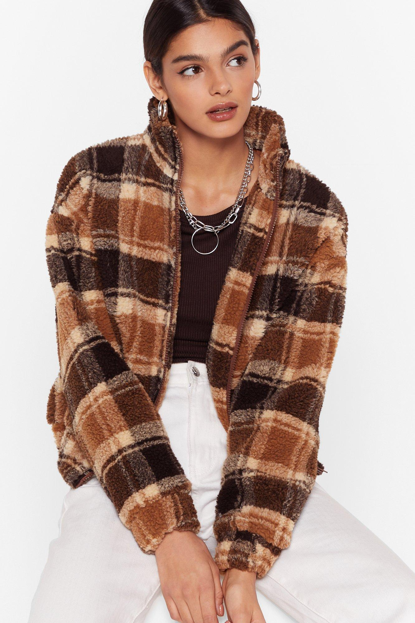 Image of If We Faux Fur You Check High Neck Jacket