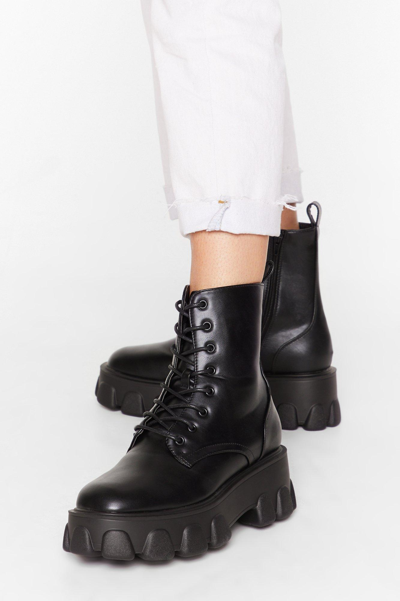 Image of Things Just Got Cleated Platform Faux Leather Boots