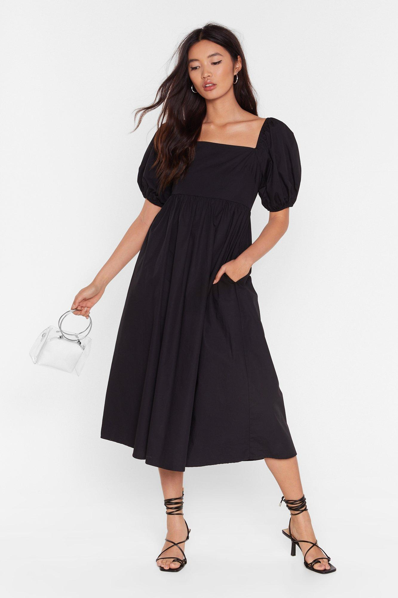 Image of Who Square's Who Wins Puff Sleeve Midi Dress